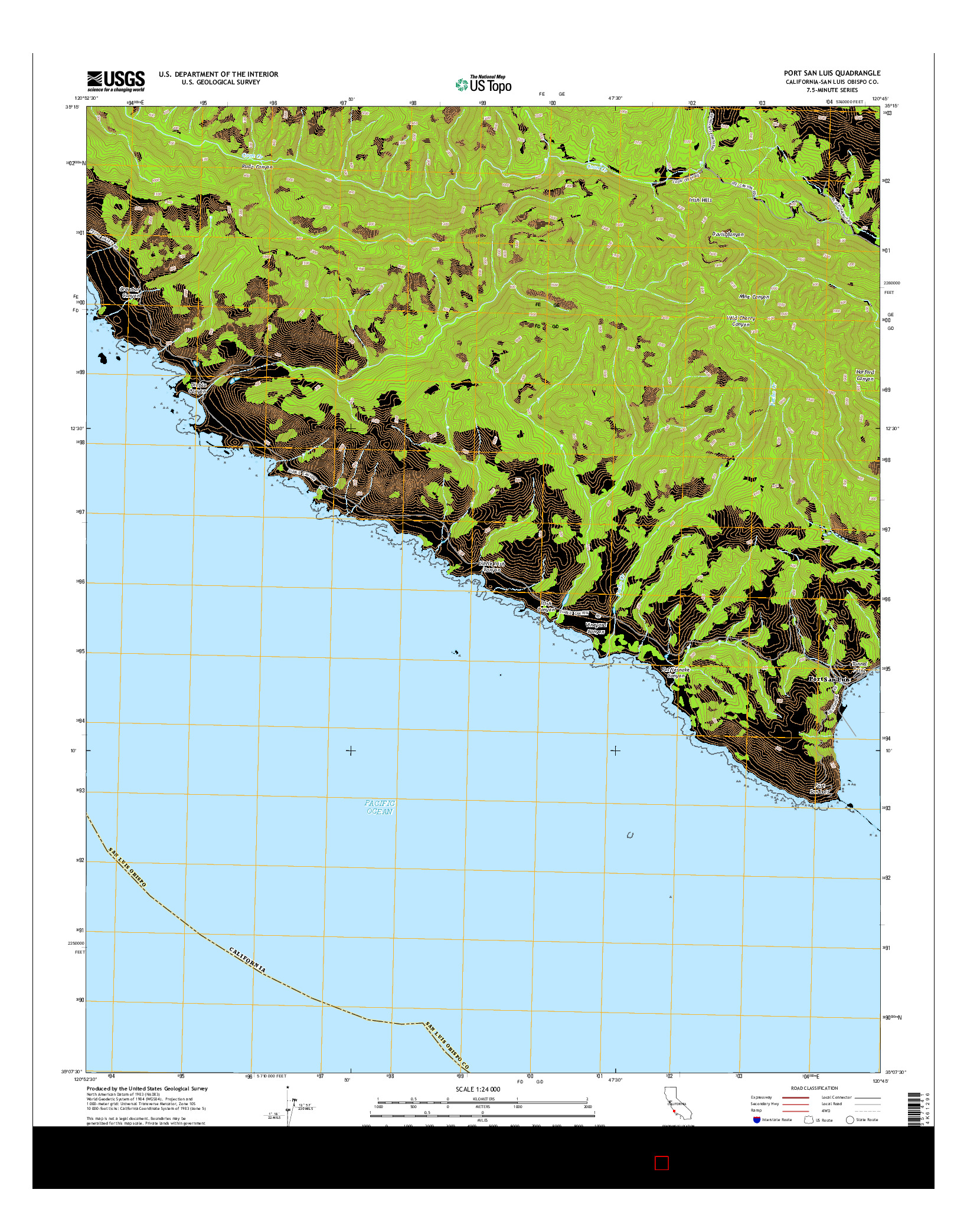 USGS US TOPO 7.5-MINUTE MAP FOR PORT SAN LUIS, CA 2015