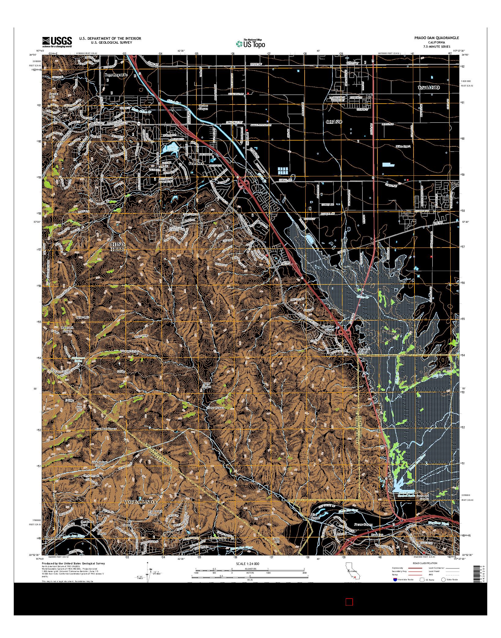 USGS US TOPO 7.5-MINUTE MAP FOR PRADO DAM, CA 2015