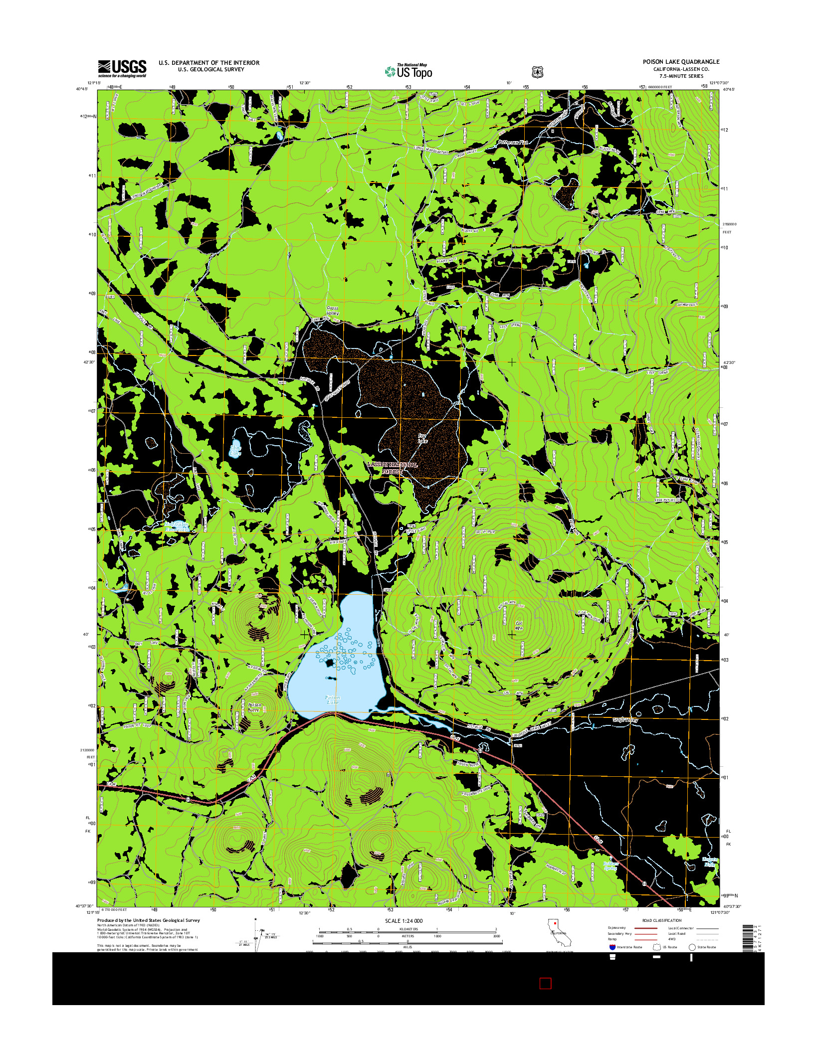 USGS US TOPO 7.5-MINUTE MAP FOR POISON LAKE, CA 2015