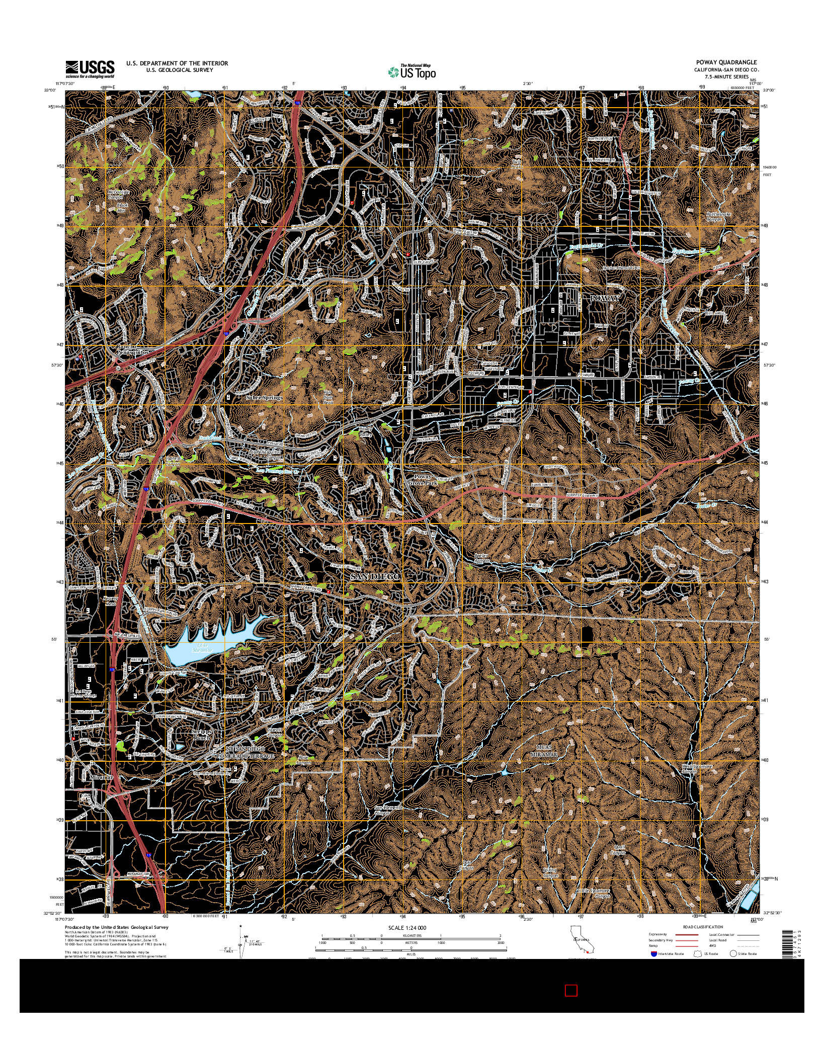 USGS US TOPO 7.5-MINUTE MAP FOR POWAY, CA 2015