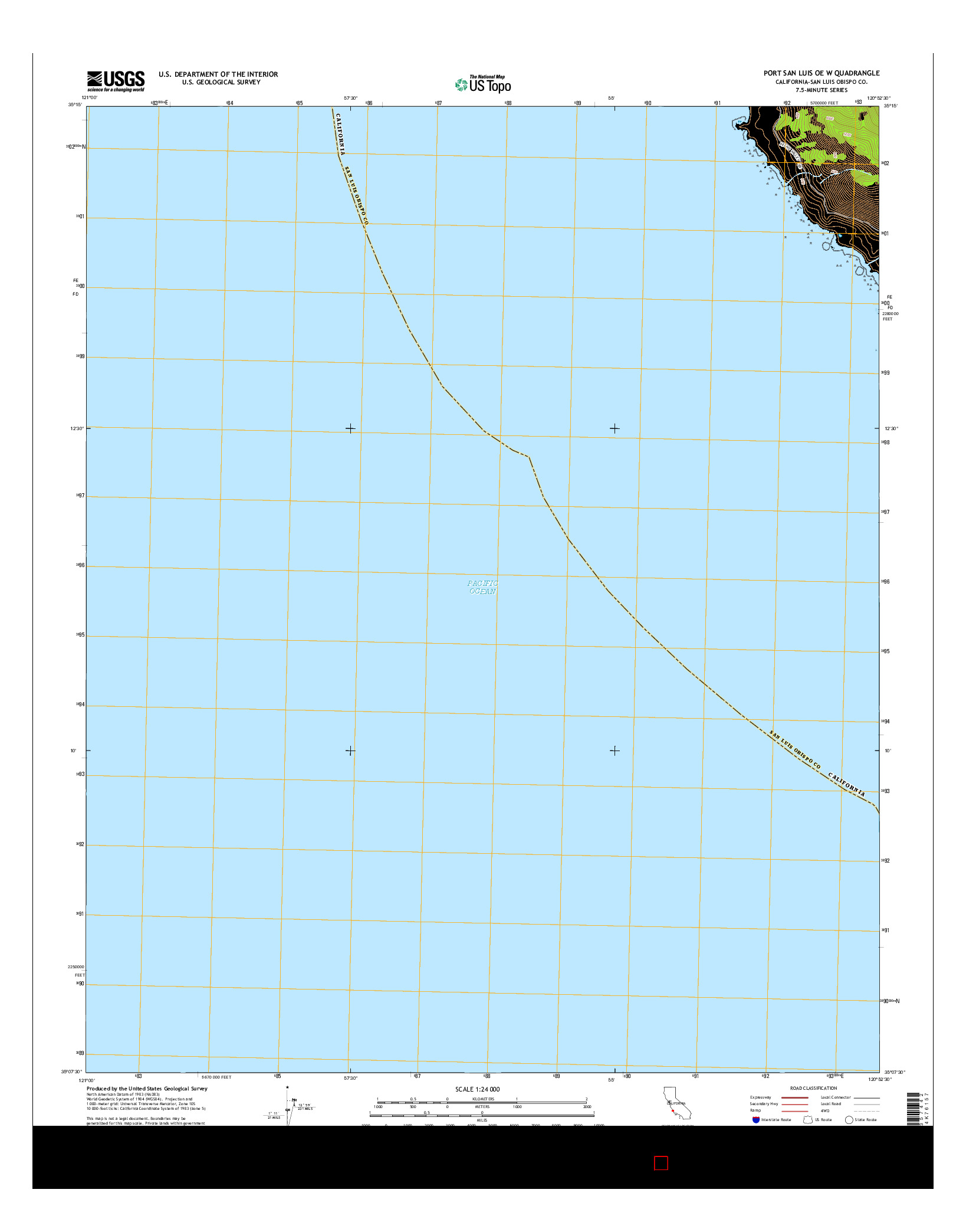 USGS US TOPO 7.5-MINUTE MAP FOR PORT SAN LUIS OE W, CA 2015