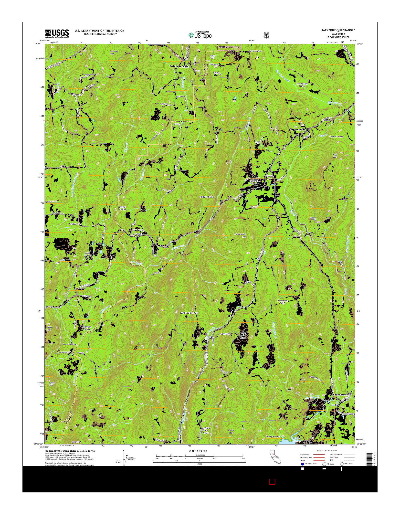 USGS US TOPO 7.5-MINUTE MAP FOR RACKERBY, CA 2015
