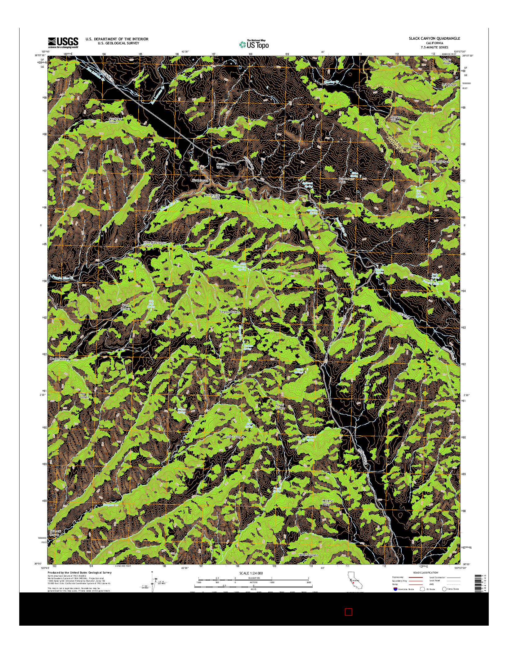 USGS US TOPO 7.5-MINUTE MAP FOR SLACK CANYON, CA 2015