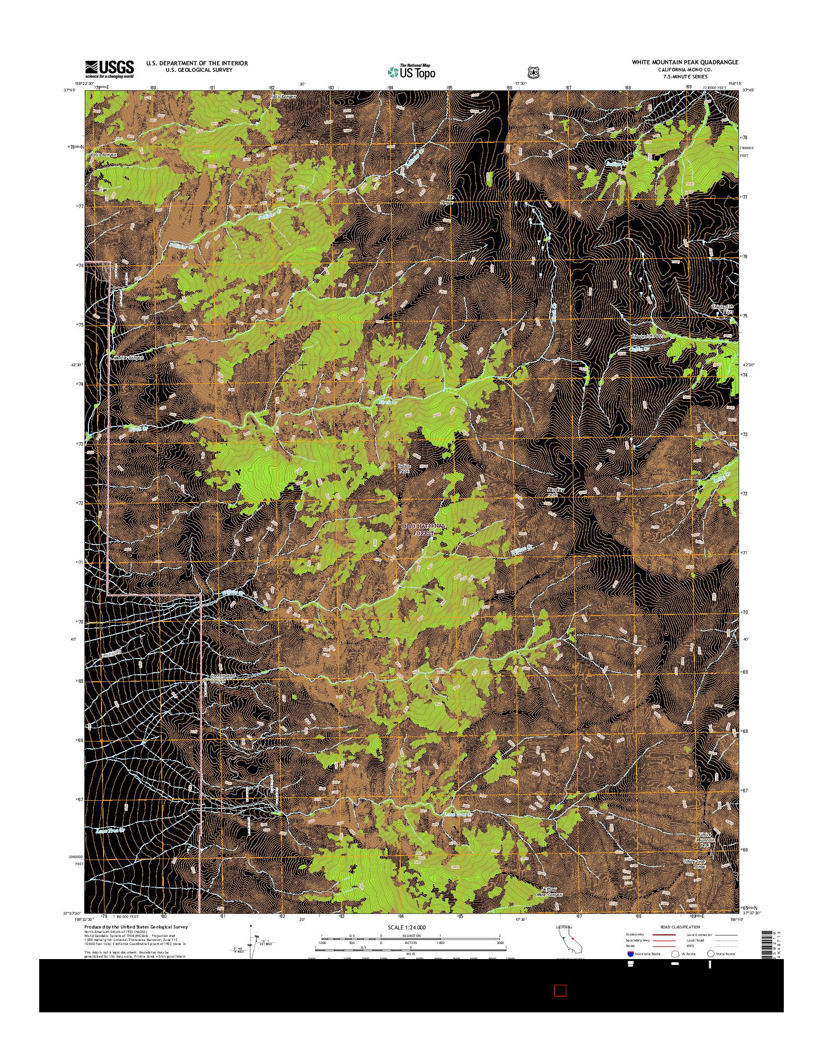 USGS US TOPO 7.5-MINUTE MAP FOR WHITE MOUNTAIN PEAK, CA 2015