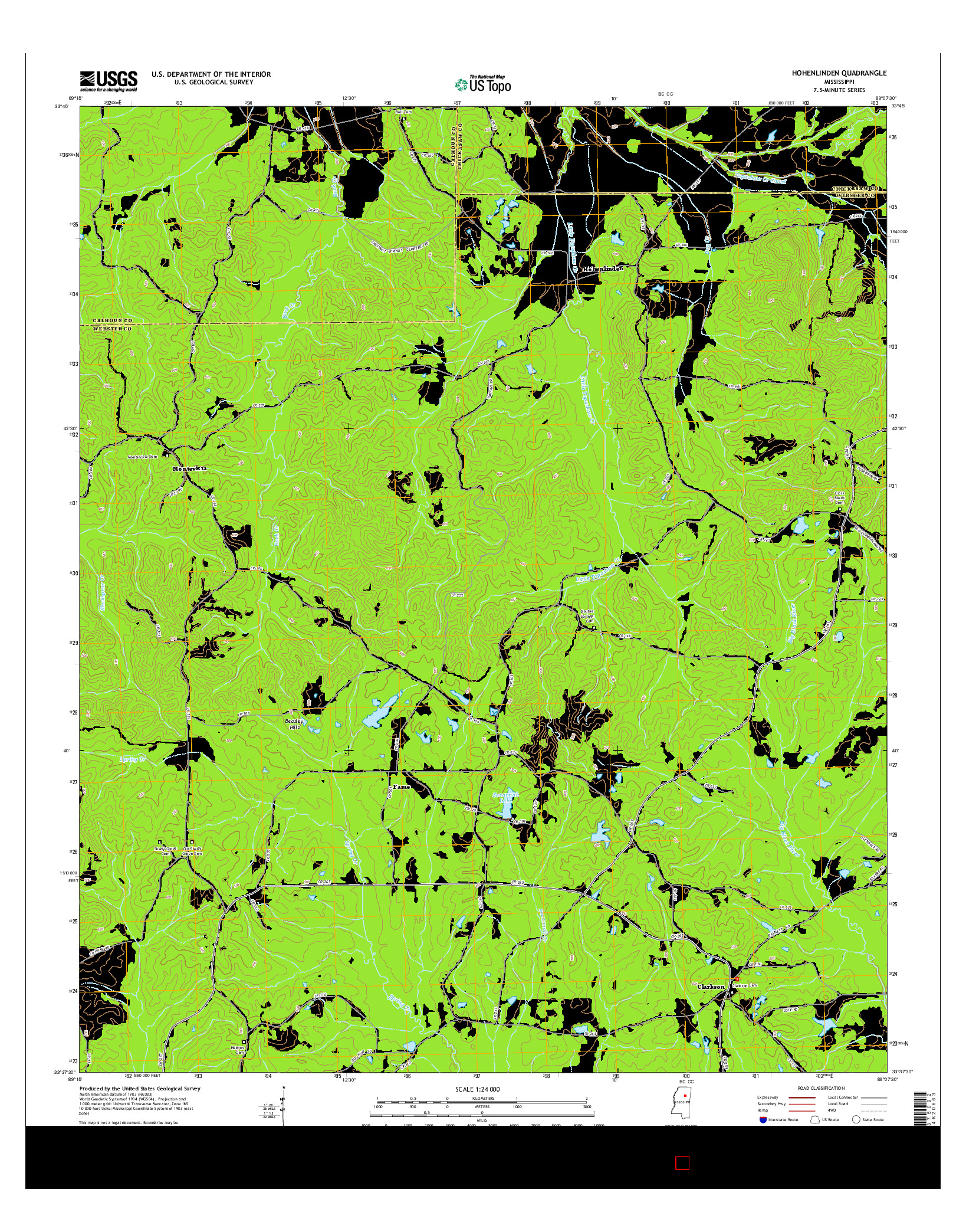 USGS US TOPO 7.5-MINUTE MAP FOR HOHENLINDEN, MS 2015