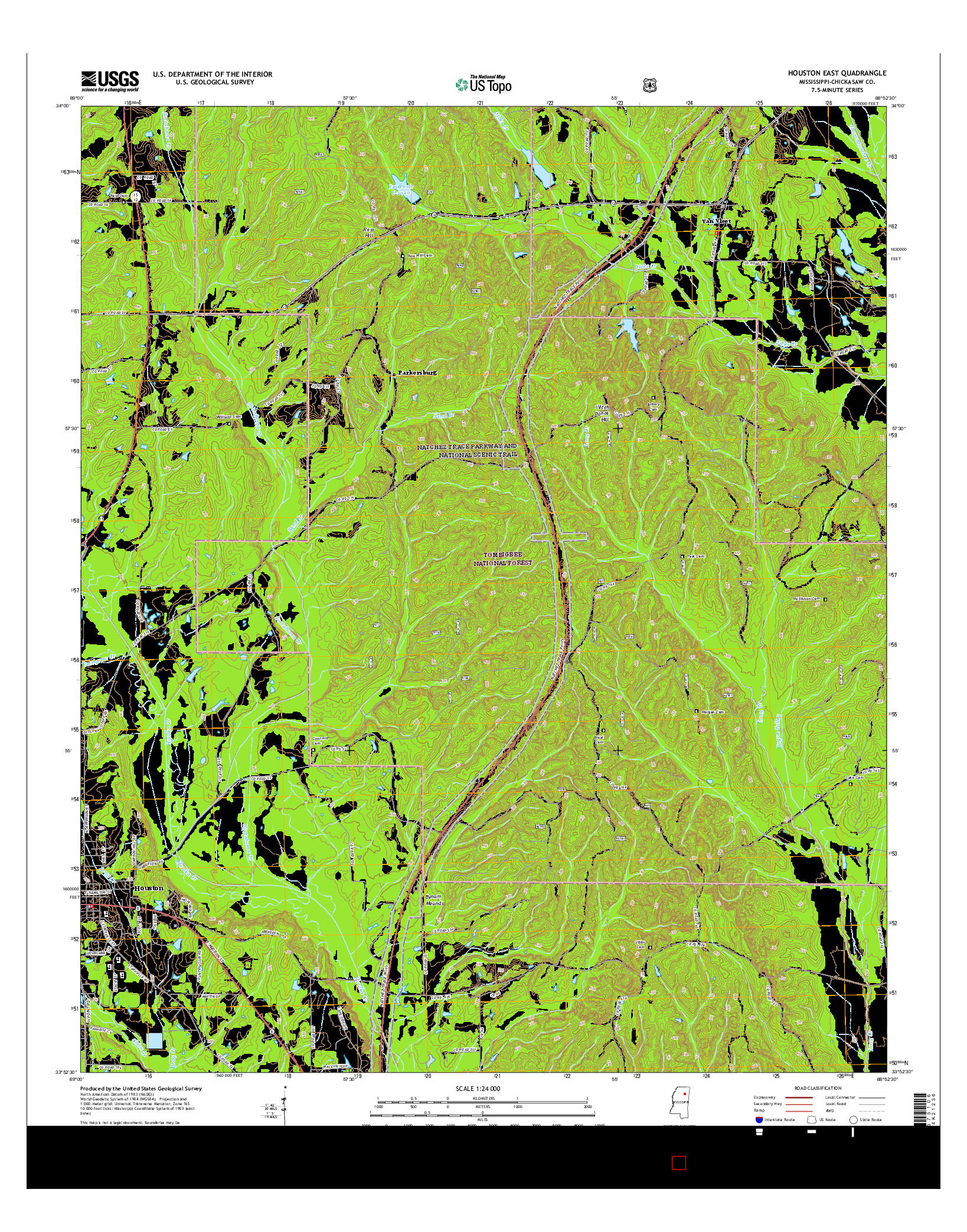 USGS US TOPO 7.5-MINUTE MAP FOR HOUSTON EAST, MS 2015
