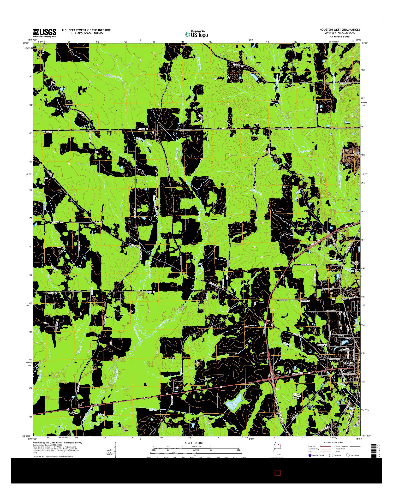 USGS US TOPO 7.5-MINUTE MAP FOR HOUSTON WEST, MS 2015