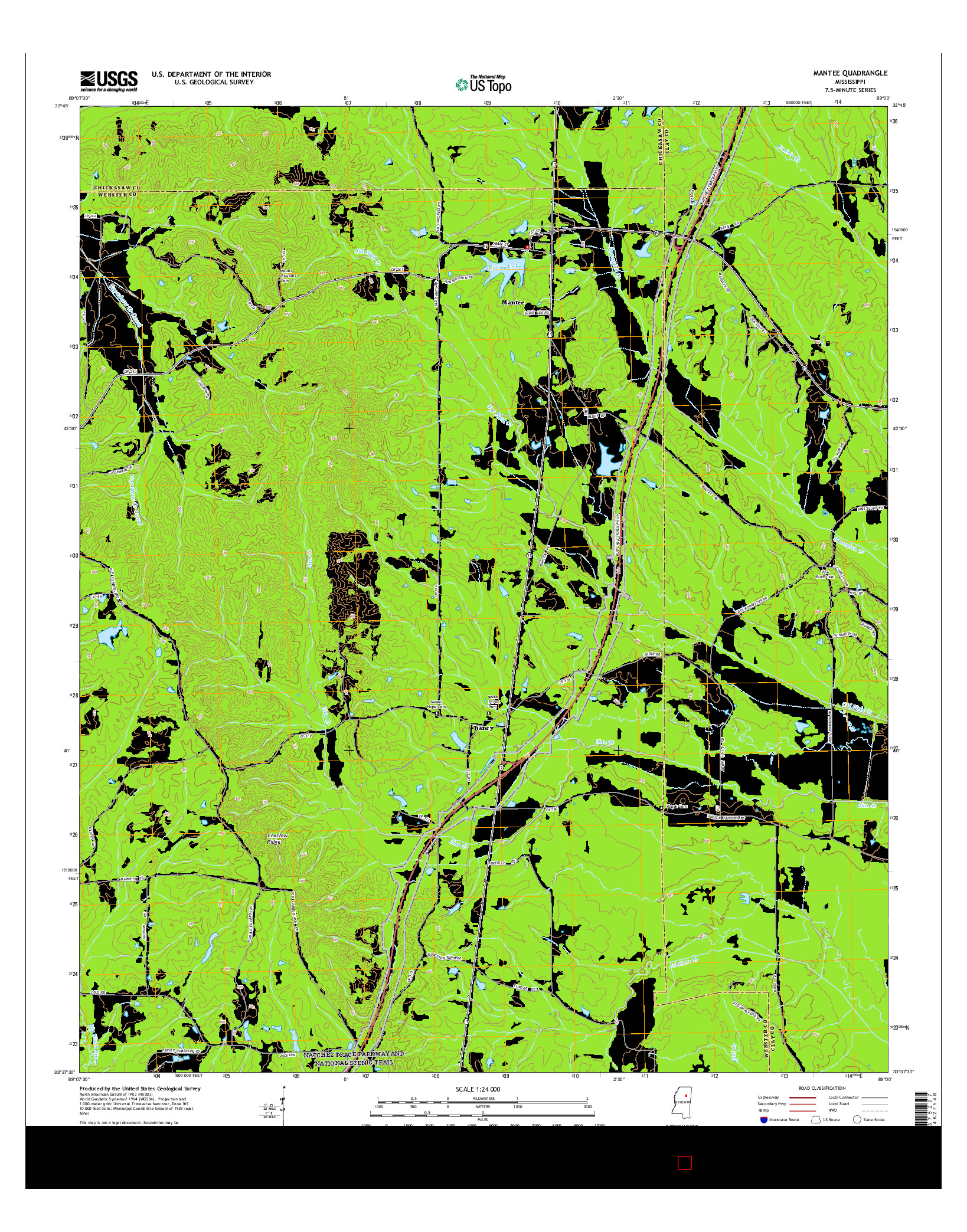 USGS US TOPO 7.5-MINUTE MAP FOR MANTEE, MS 2015