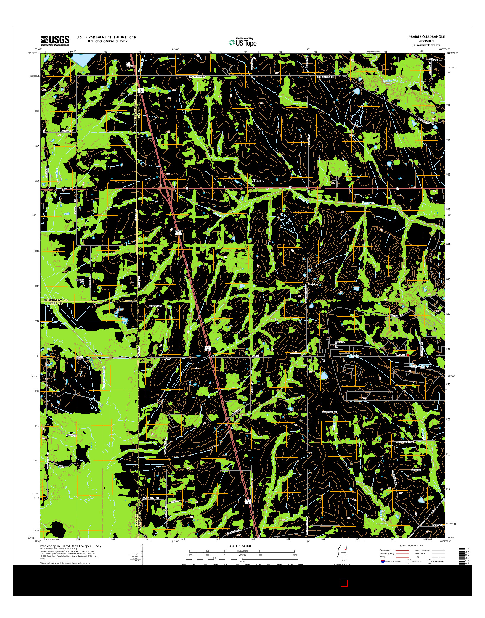 USGS US TOPO 7.5-MINUTE MAP FOR PRAIRIE, MS 2015