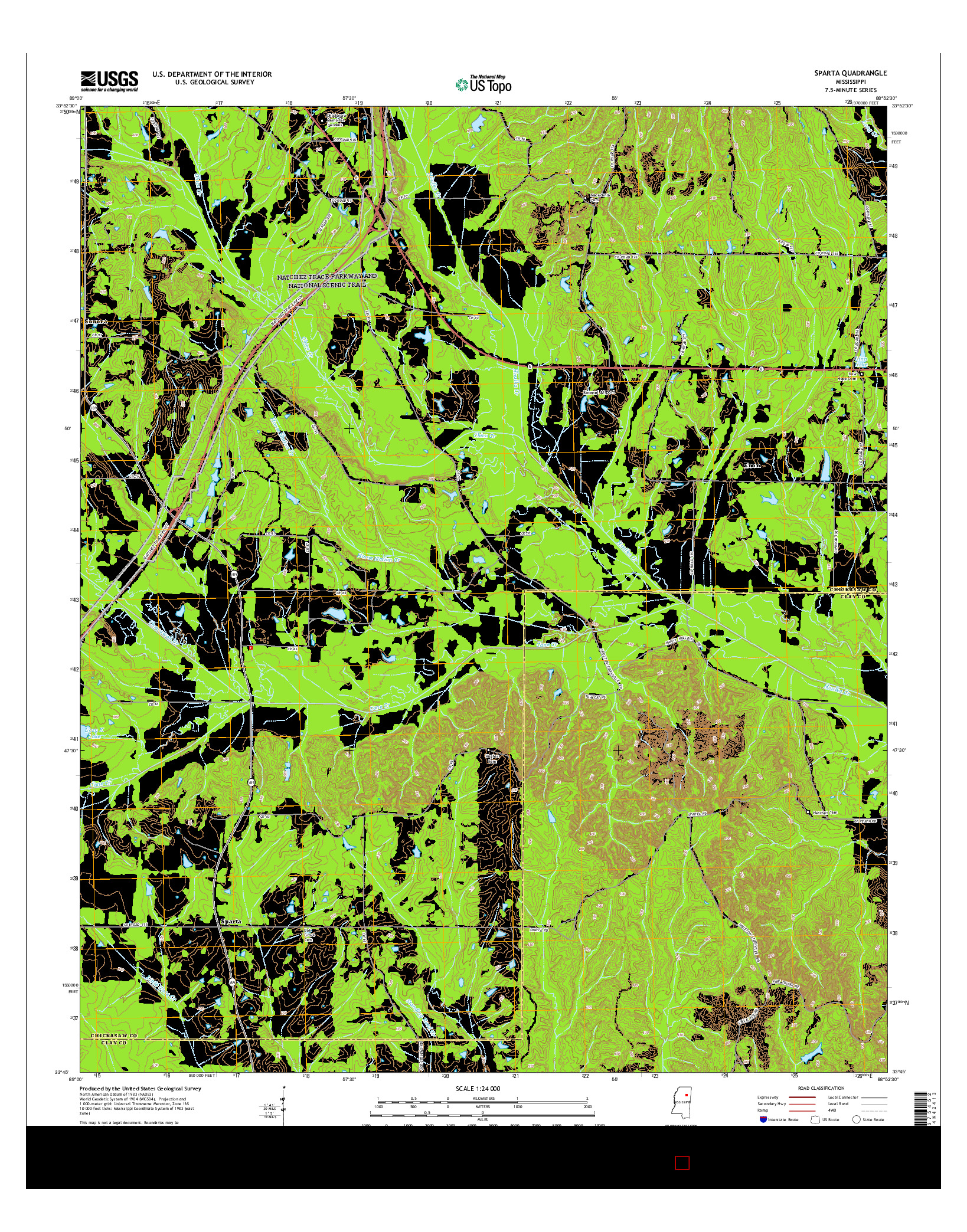 USGS US TOPO 7.5-MINUTE MAP FOR SPARTA, MS 2015