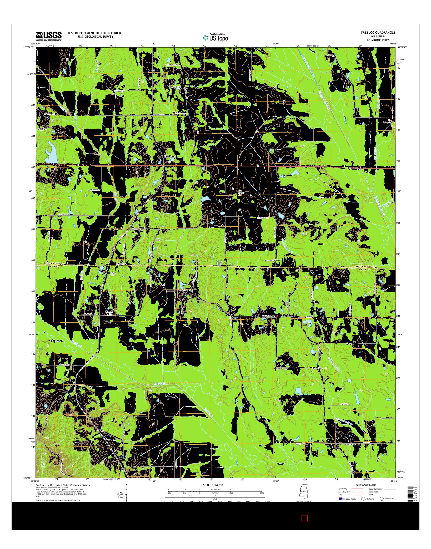 USGS US TOPO 7.5-MINUTE MAP FOR TREBLOC, MS 2015