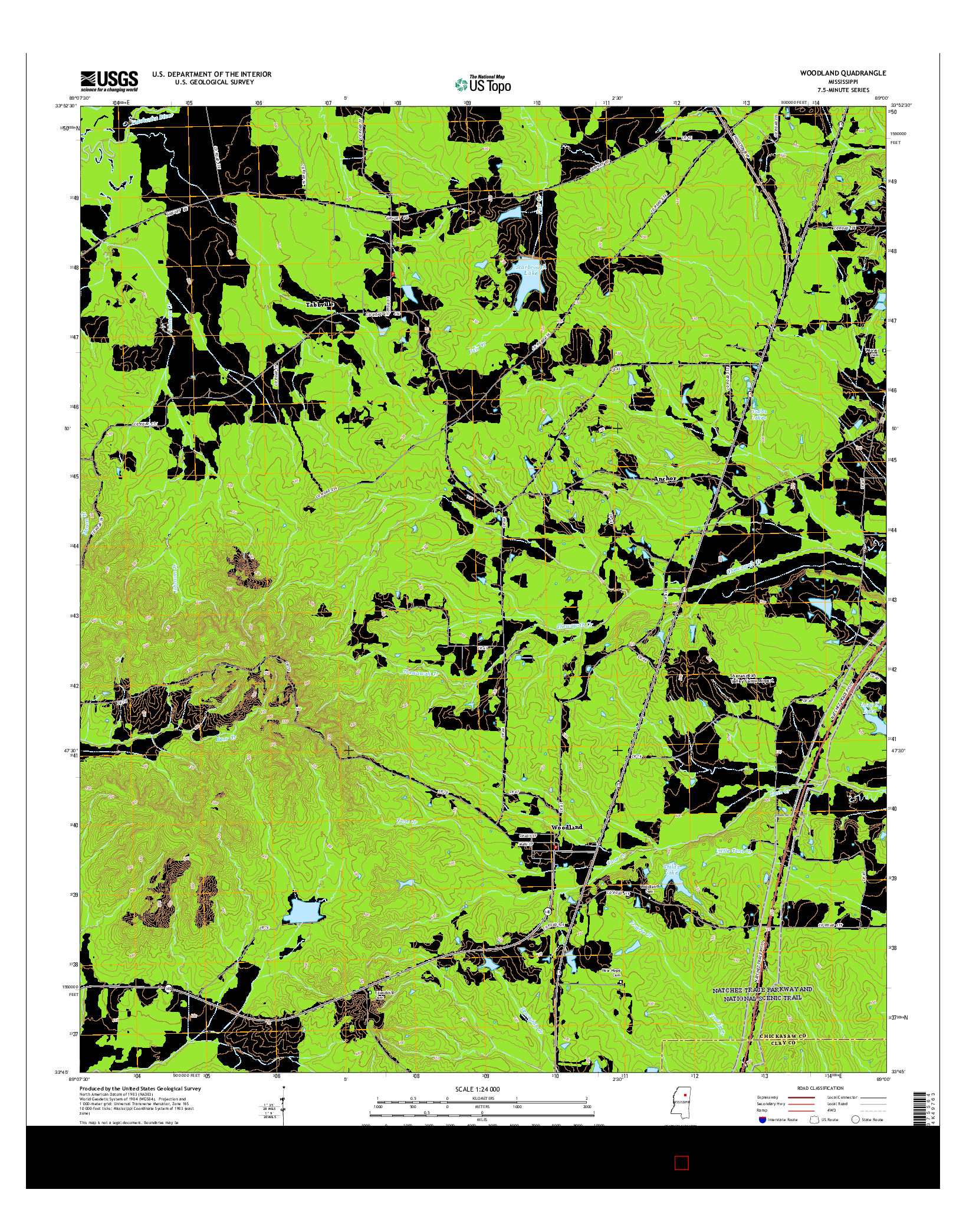 USGS US TOPO 7.5-MINUTE MAP FOR WOODLAND, MS 2015