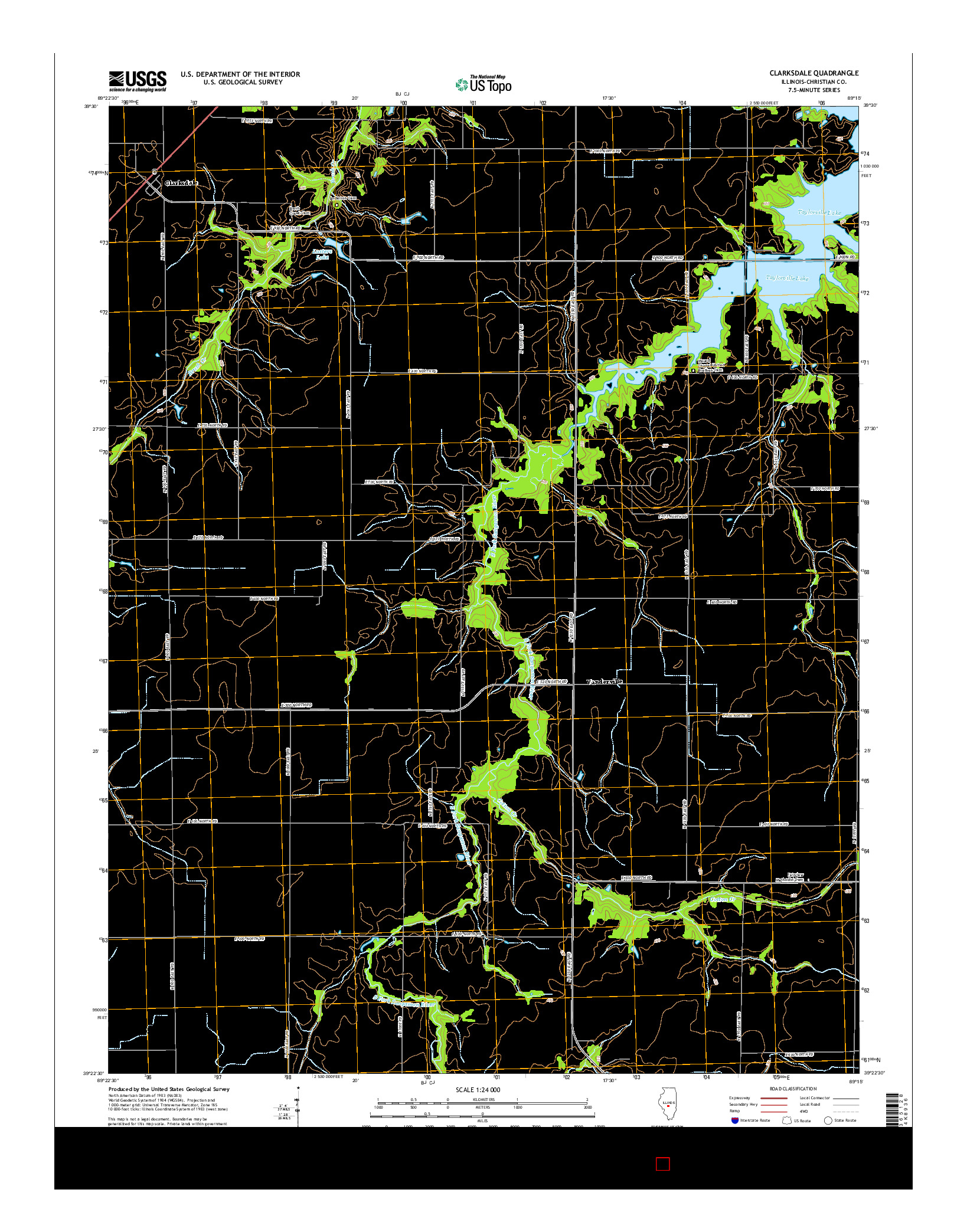 USGS US TOPO 7.5-MINUTE MAP FOR CLARKSDALE, IL 2015