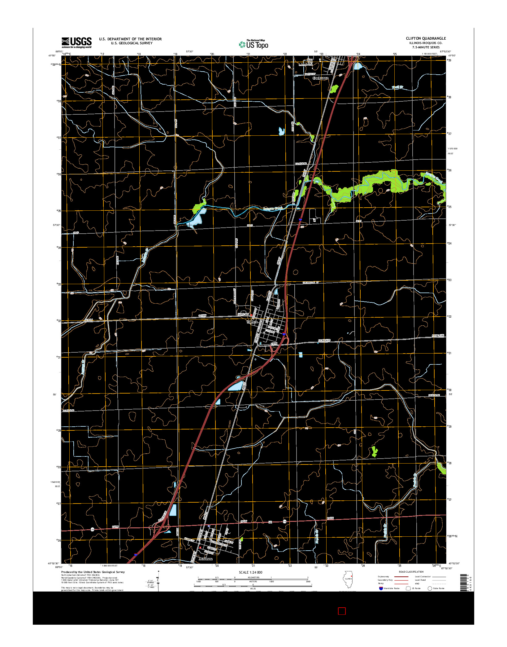 USGS US TOPO 7.5-MINUTE MAP FOR CLIFTON, IL 2015