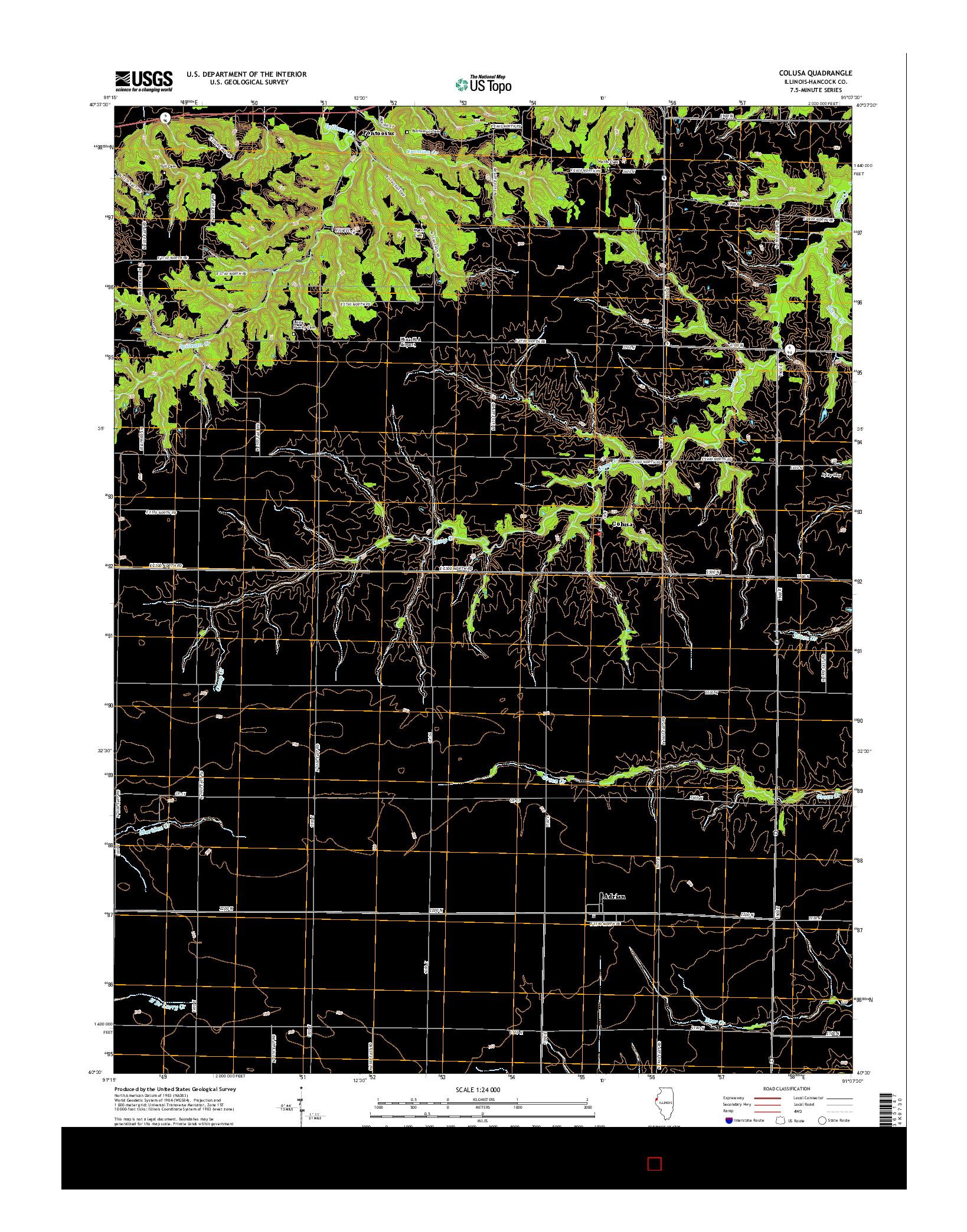 USGS US TOPO 7.5-MINUTE MAP FOR COLUSA, IL 2015