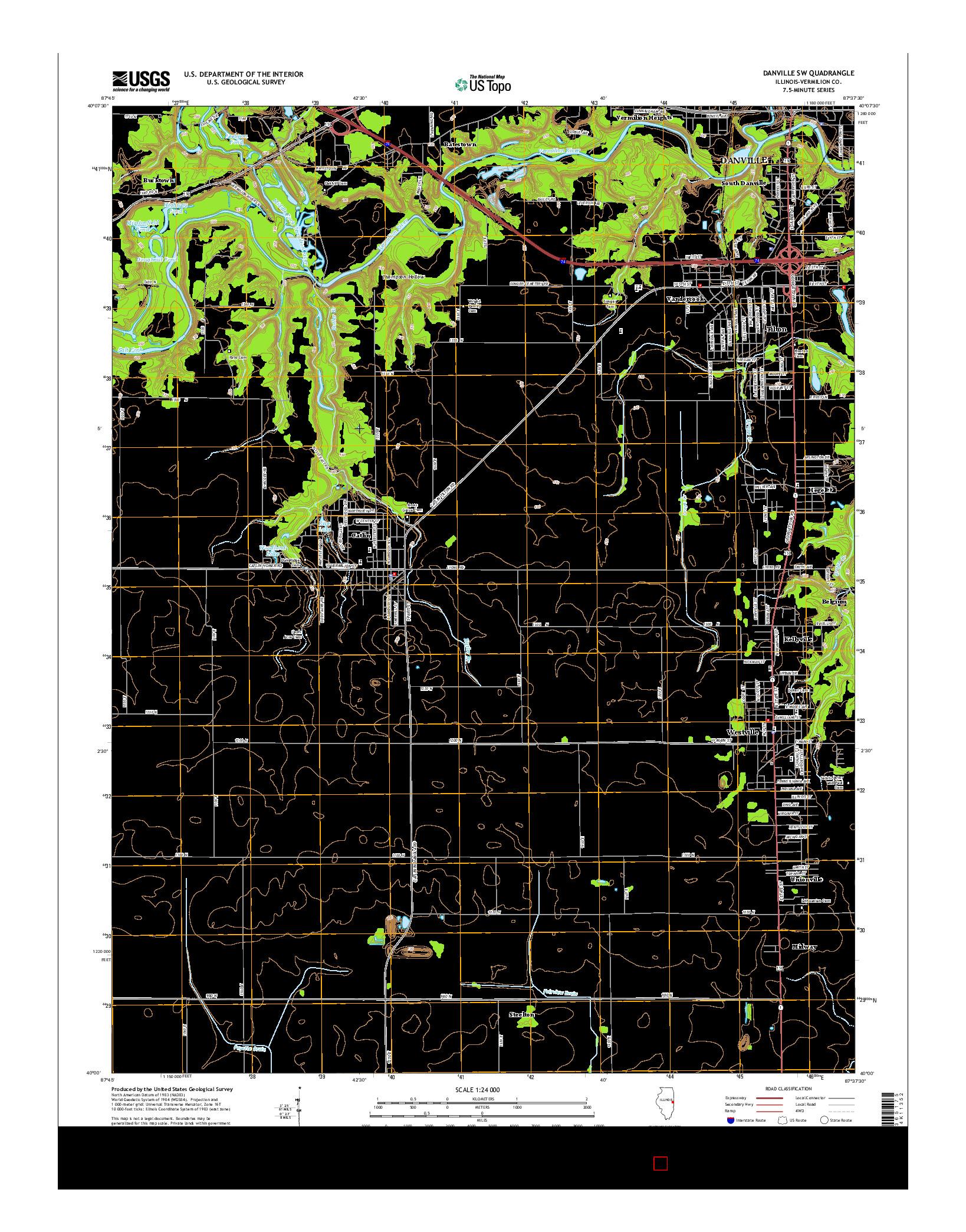 USGS US TOPO 7.5-MINUTE MAP FOR DANVILLE SW, IL 2015