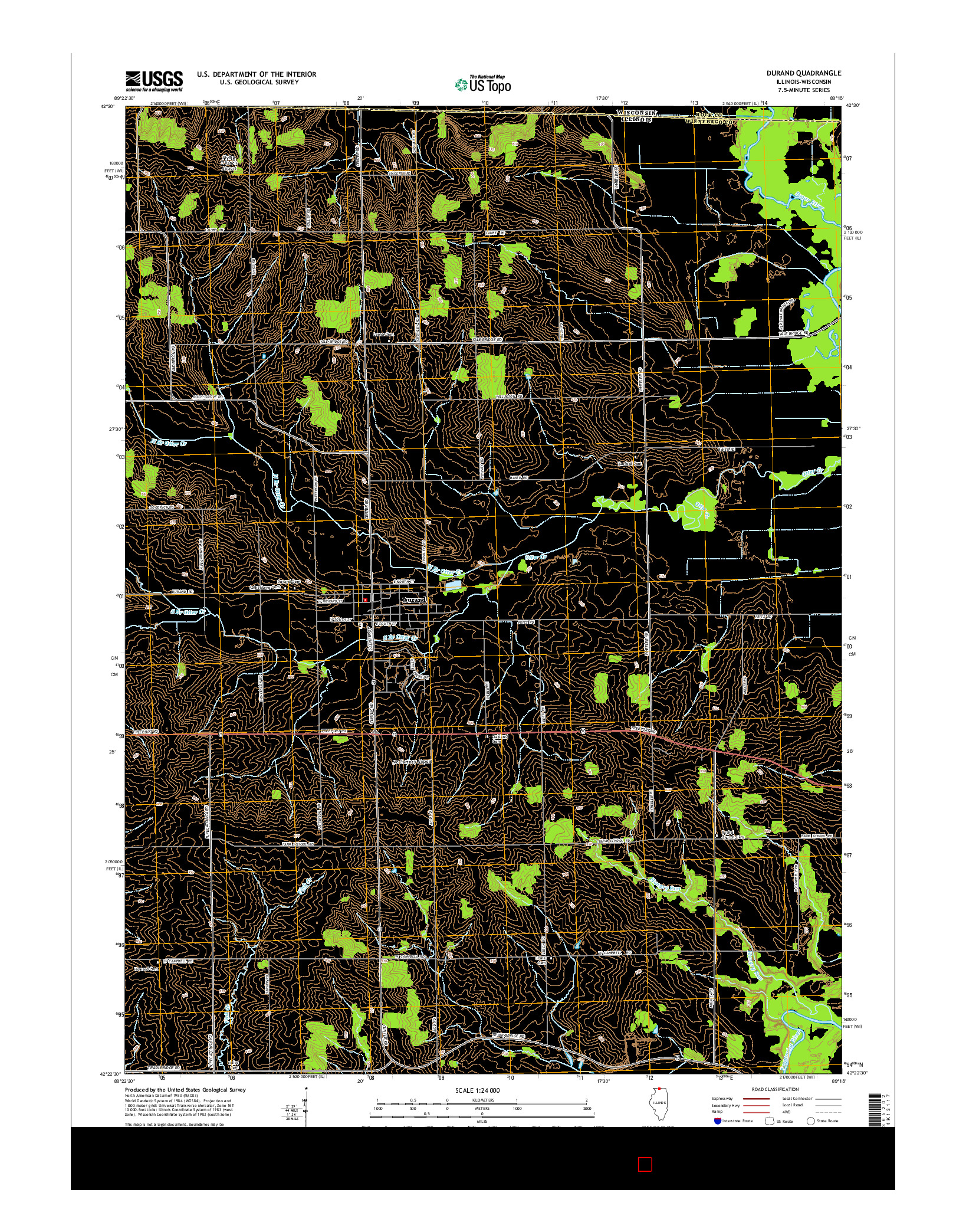 USGS US TOPO 7.5-MINUTE MAP FOR DURAND, IL-WI 2015