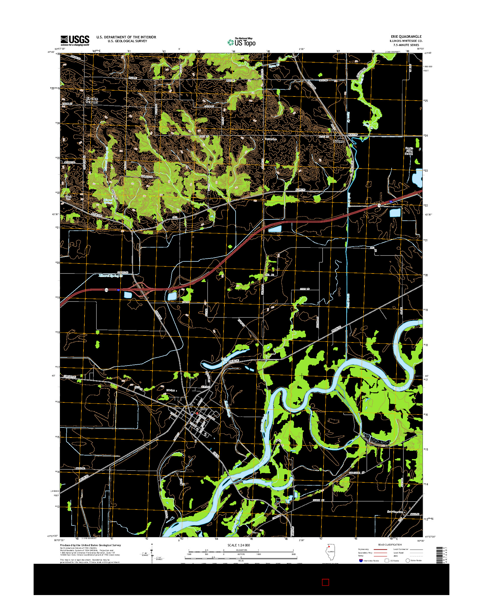 USGS US TOPO 7.5-MINUTE MAP FOR ERIE, IL 2015