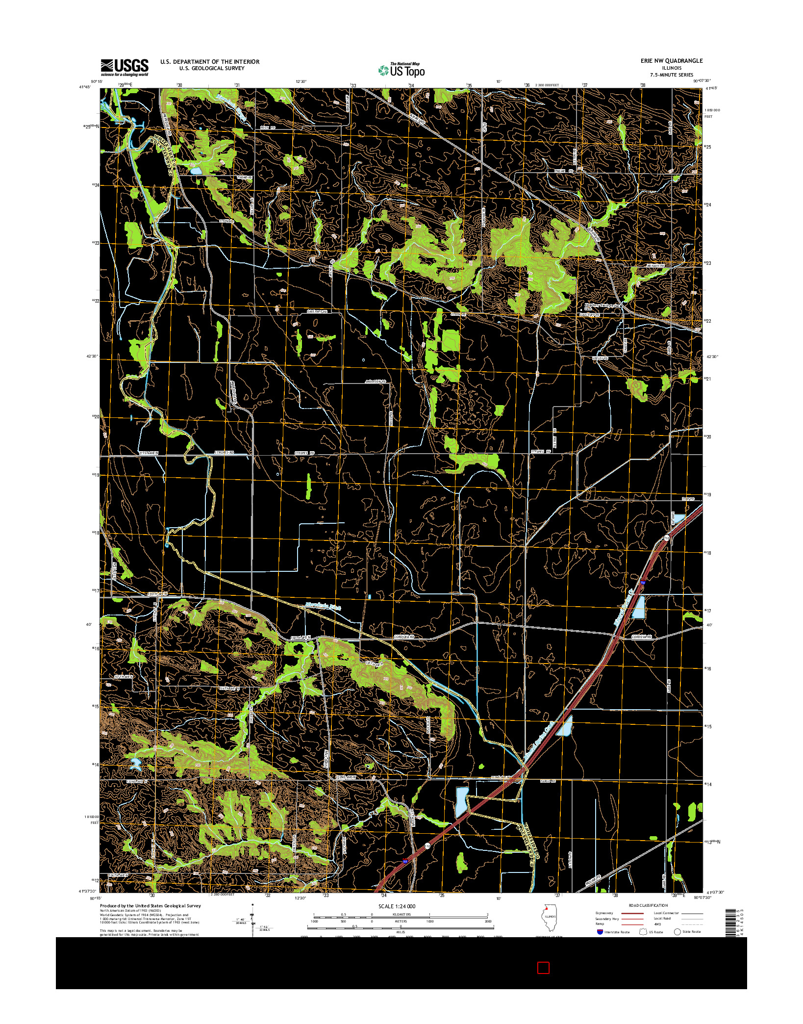 USGS US TOPO 7.5-MINUTE MAP FOR ERIE NW, IL 2015