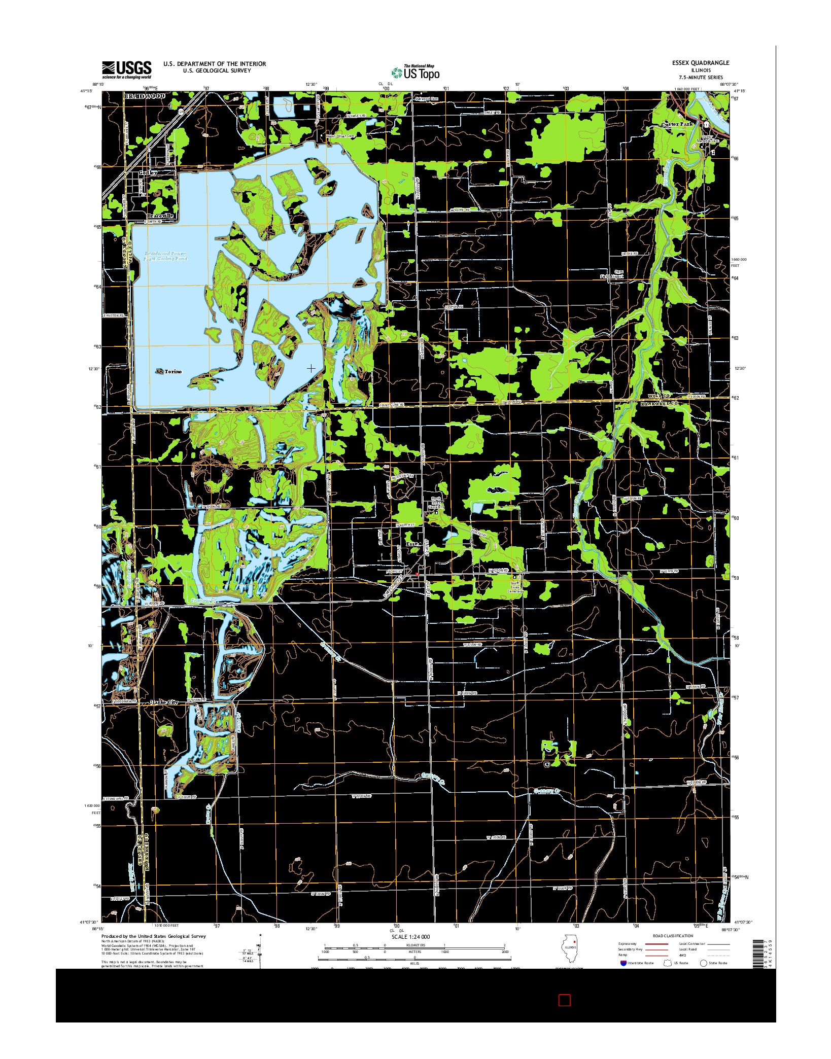 USGS US TOPO 7.5-MINUTE MAP FOR ESSEX, IL 2015