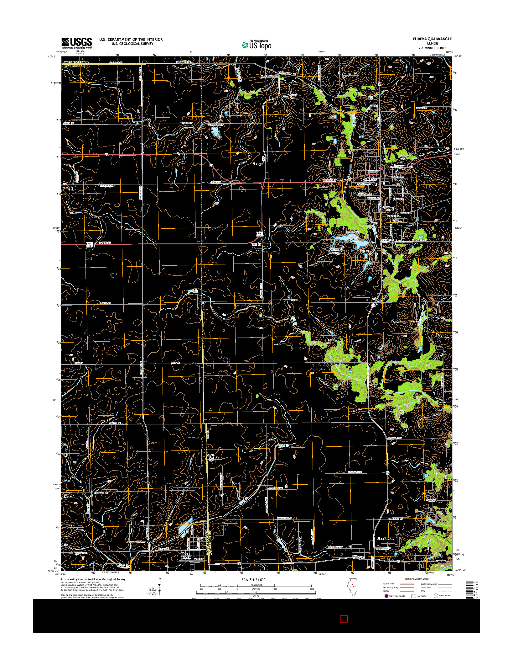 USGS US TOPO 7.5-MINUTE MAP FOR EUREKA, IL 2015
