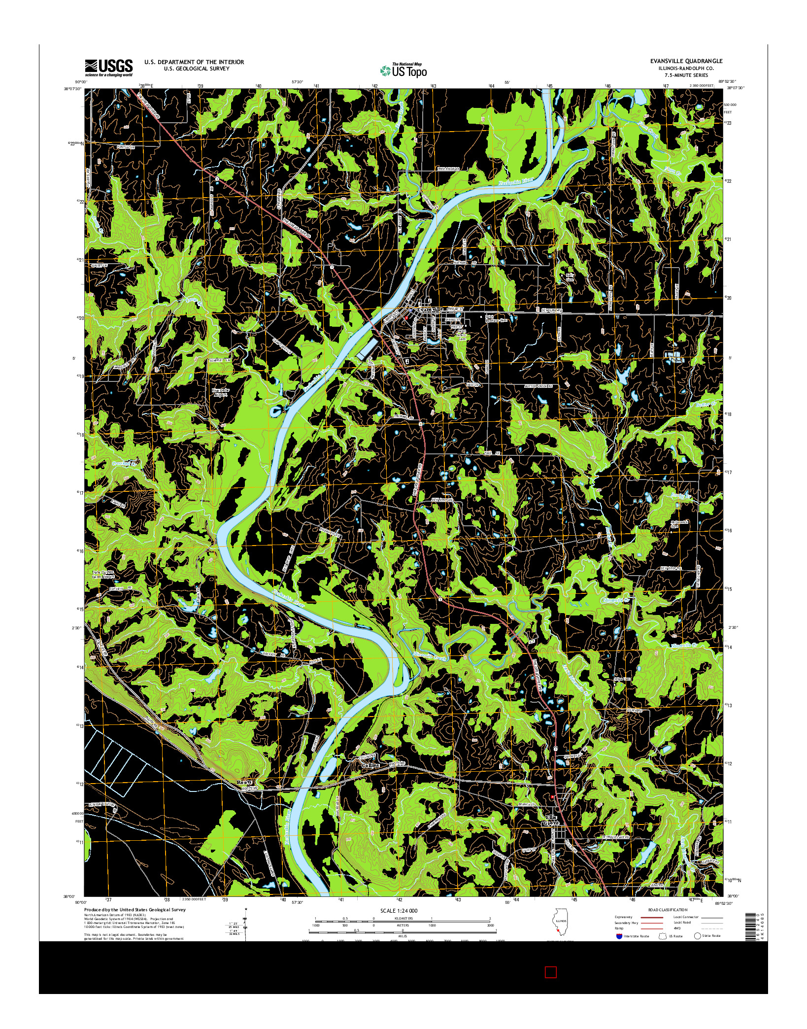 USGS US TOPO 7.5-MINUTE MAP FOR EVANSVILLE, IL 2015
