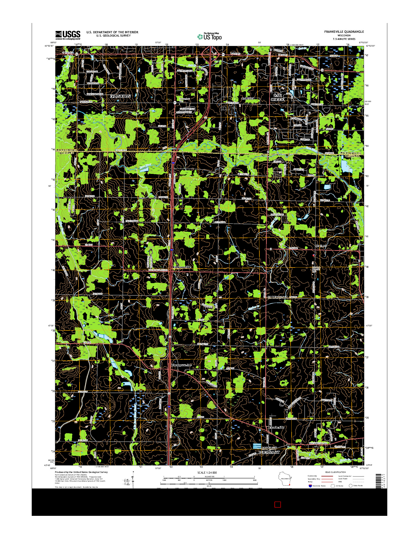 USGS US TOPO 7.5-MINUTE MAP FOR FRANKSVILLE, WI 2016