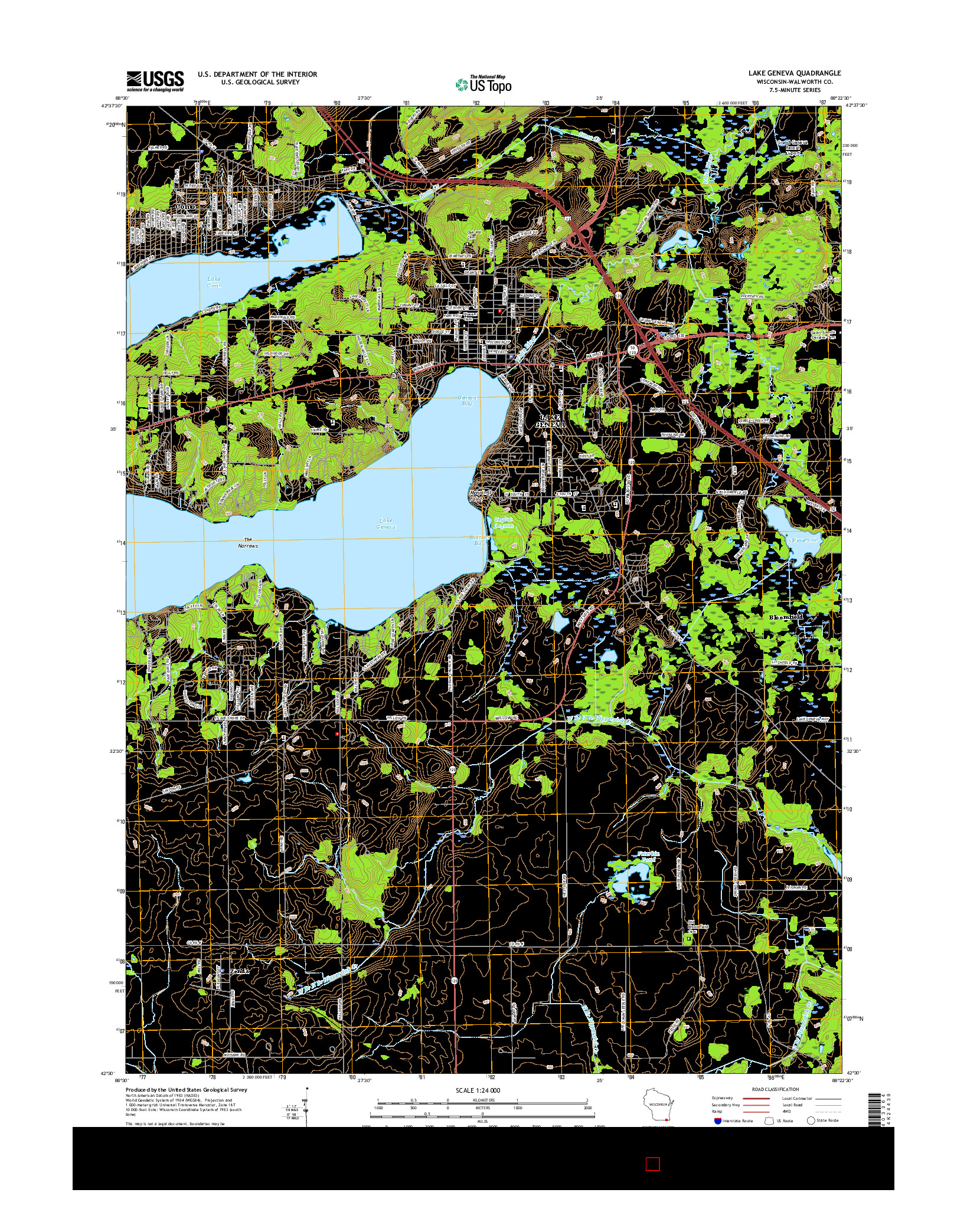 USGS US TOPO 7.5-MINUTE MAP FOR LAKE GENEVA, WI 2016