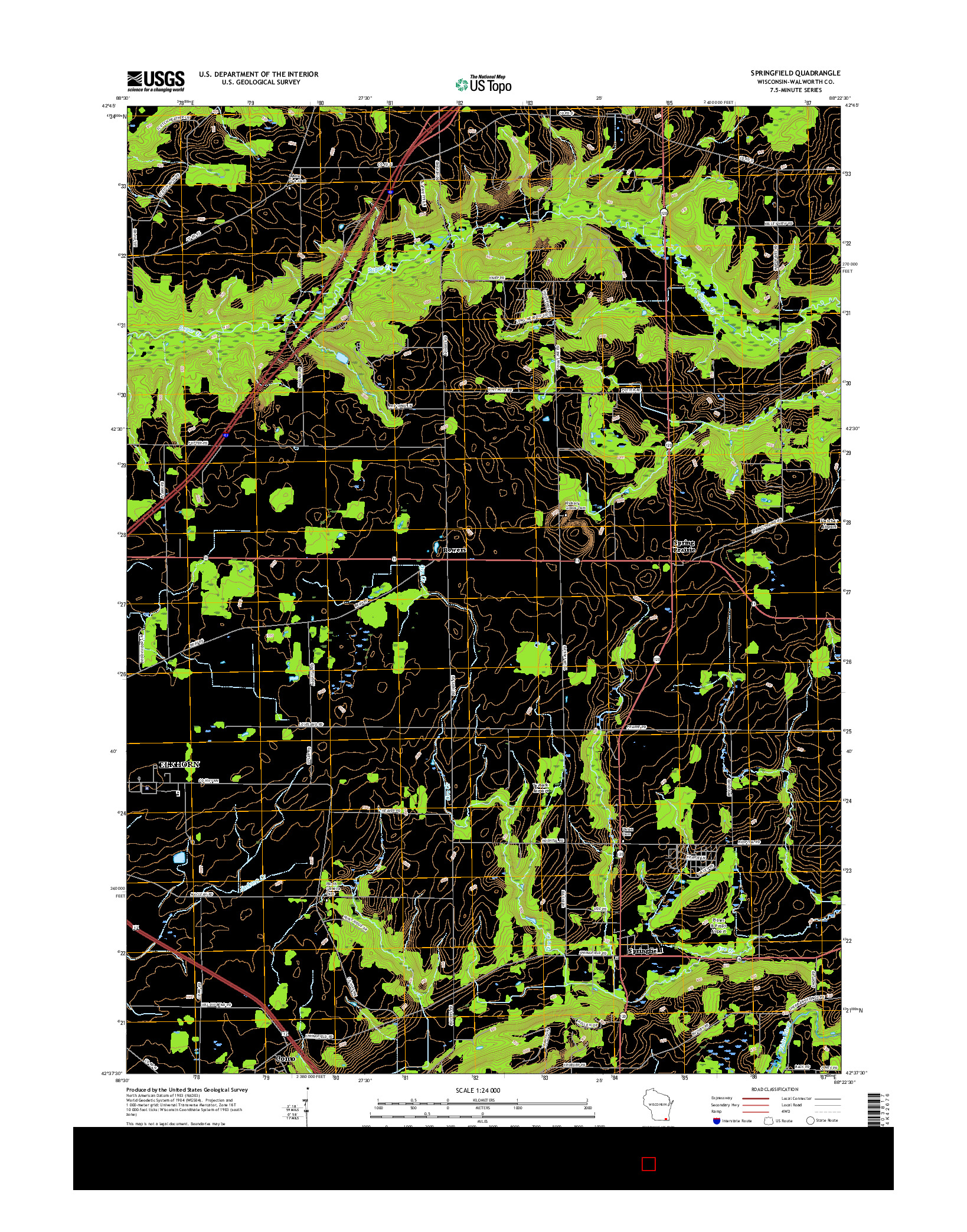 USGS US TOPO 7.5-MINUTE MAP FOR SPRINGFIELD, WI 2016