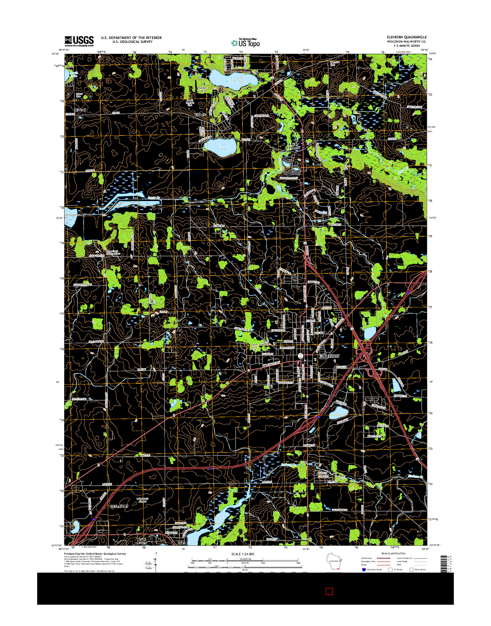 USGS US TOPO 7.5-MINUTE MAP FOR ELKHORN, WI 2016