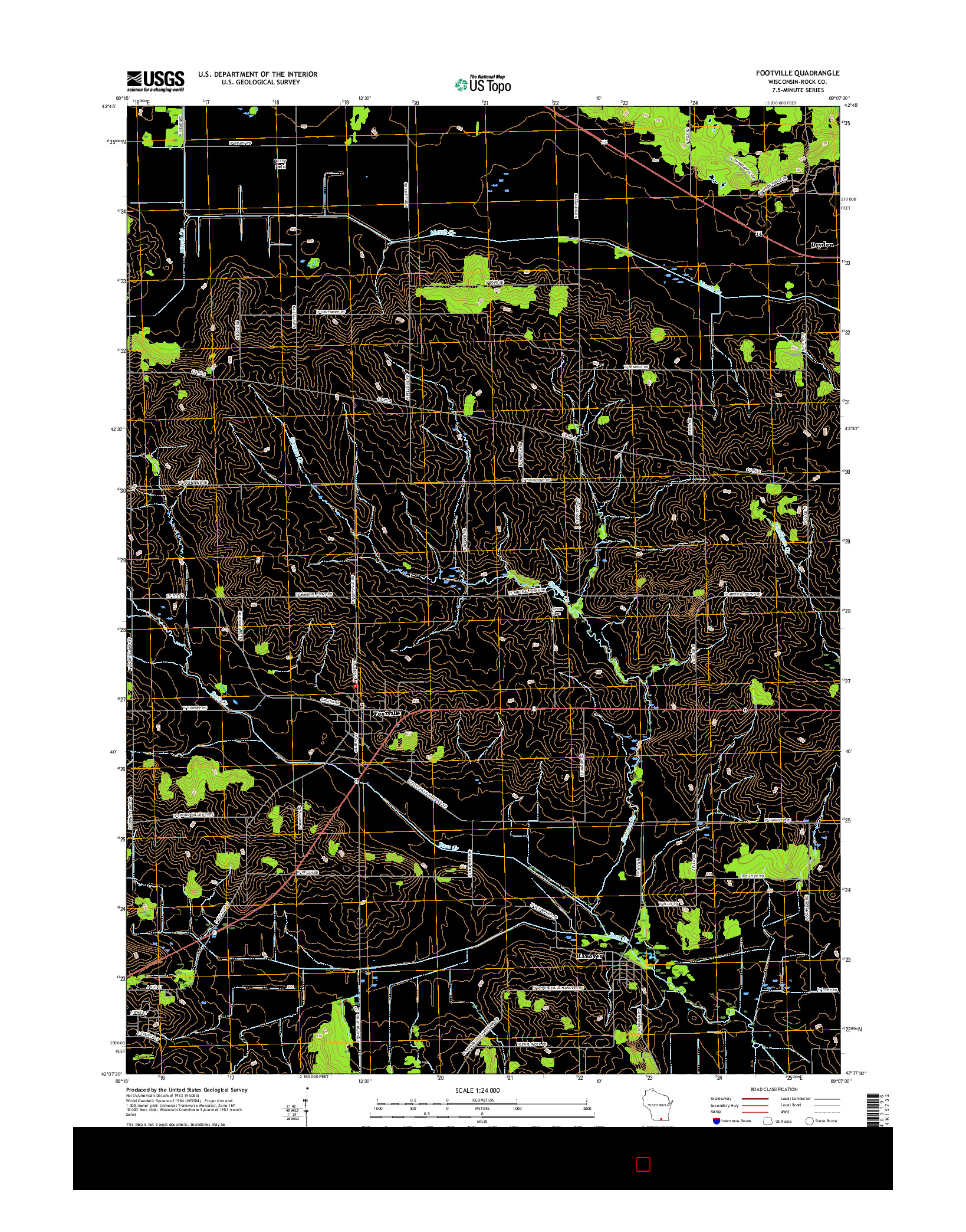 USGS US TOPO 7.5-MINUTE MAP FOR FOOTVILLE, WI 2016