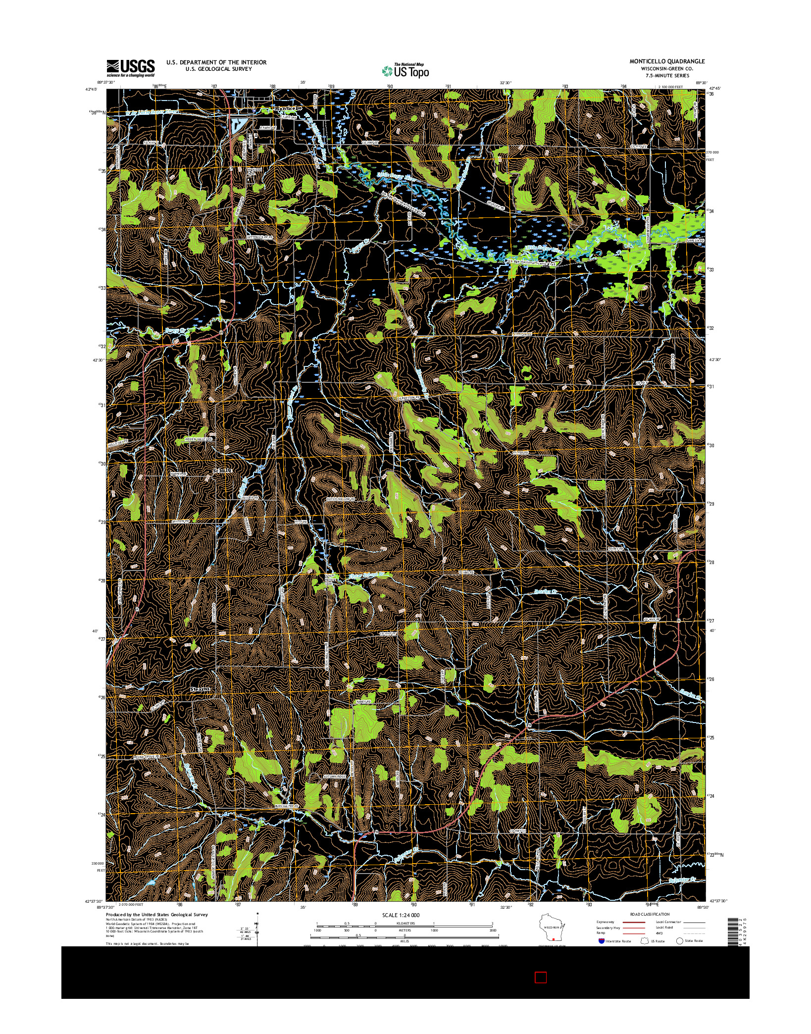 USGS US TOPO 7.5-MINUTE MAP FOR MONTICELLO, WI 2016