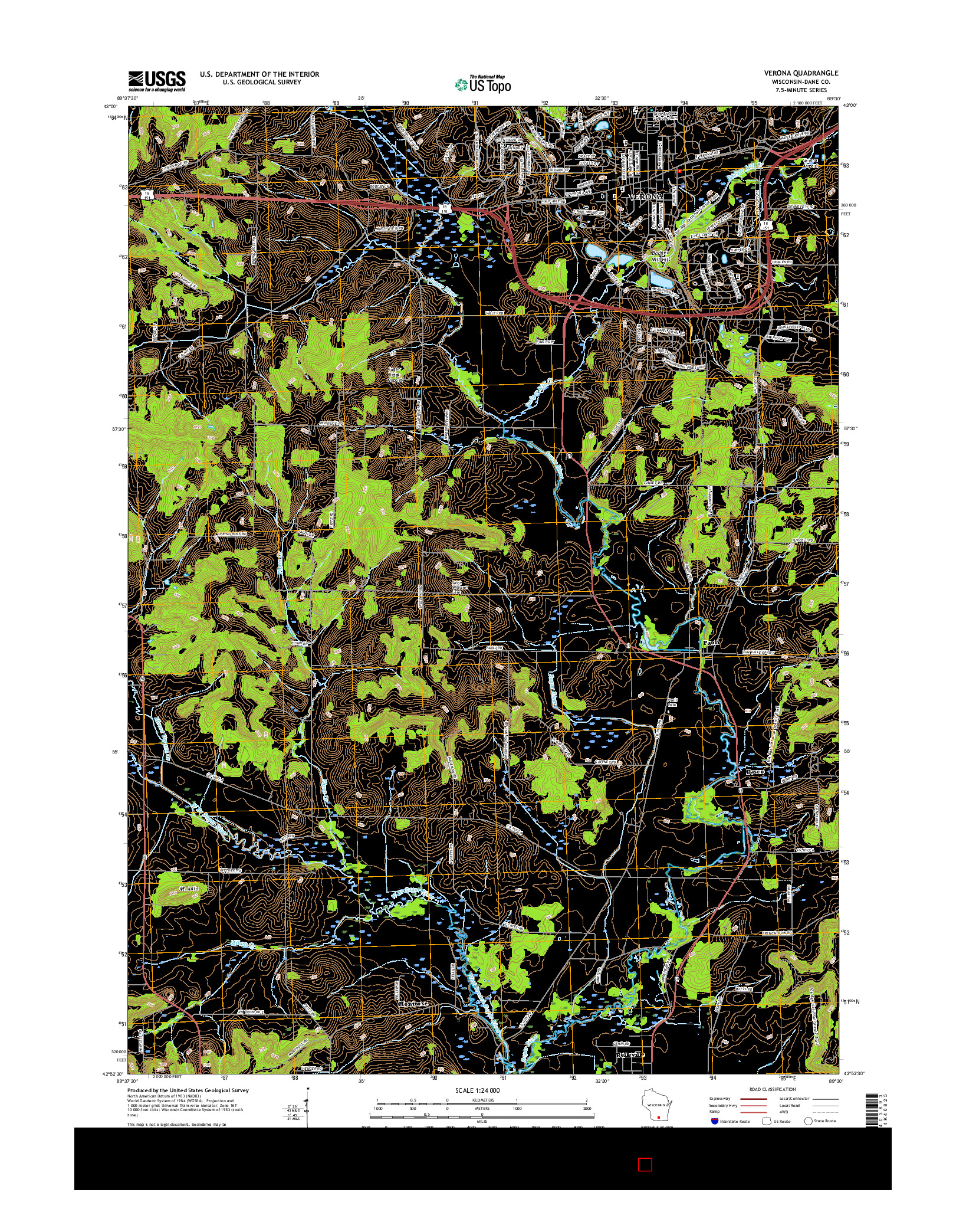 USGS US TOPO 7.5-MINUTE MAP FOR VERONA, WI 2016
