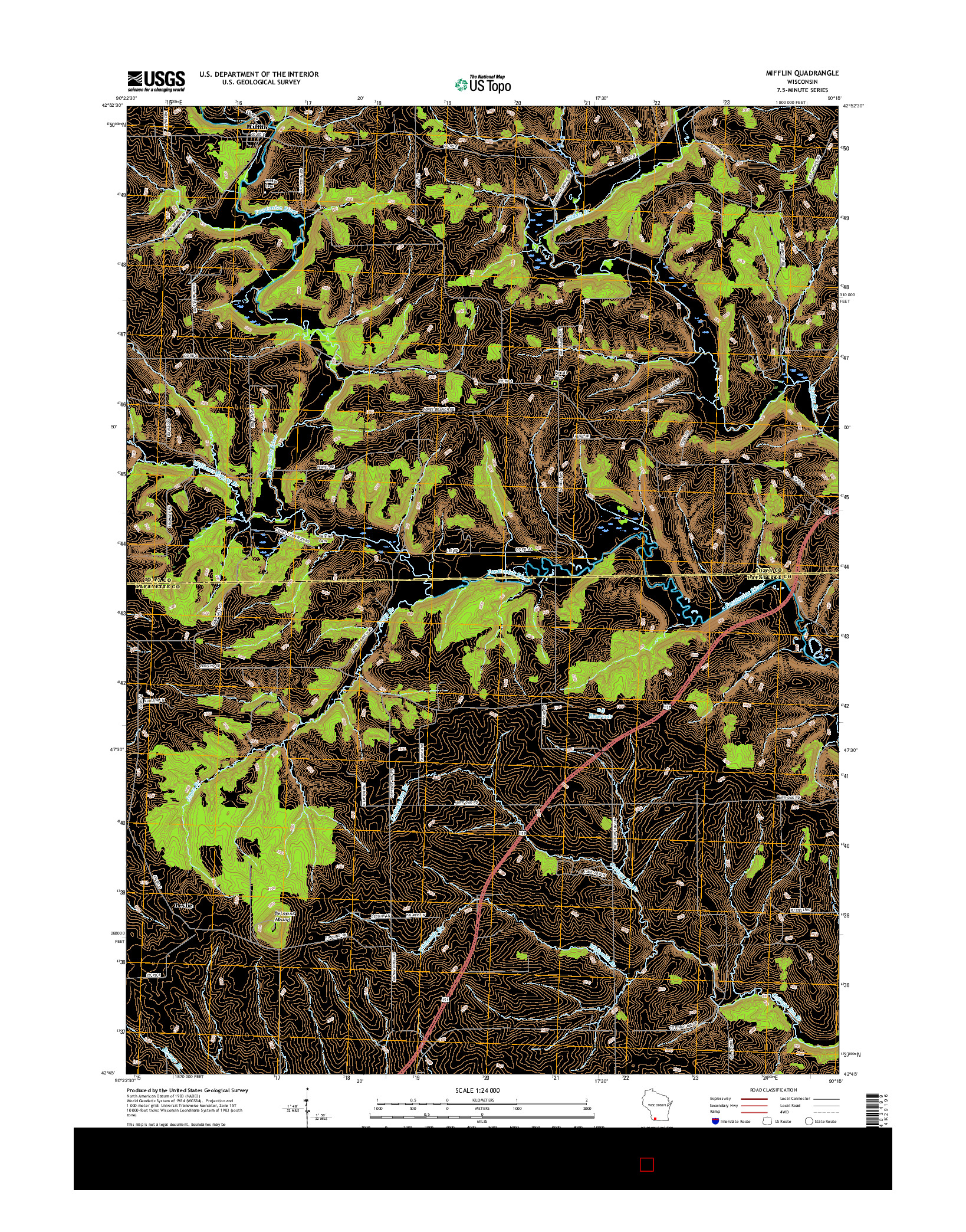 USGS US TOPO 7.5-MINUTE MAP FOR MIFFLIN, WI 2016