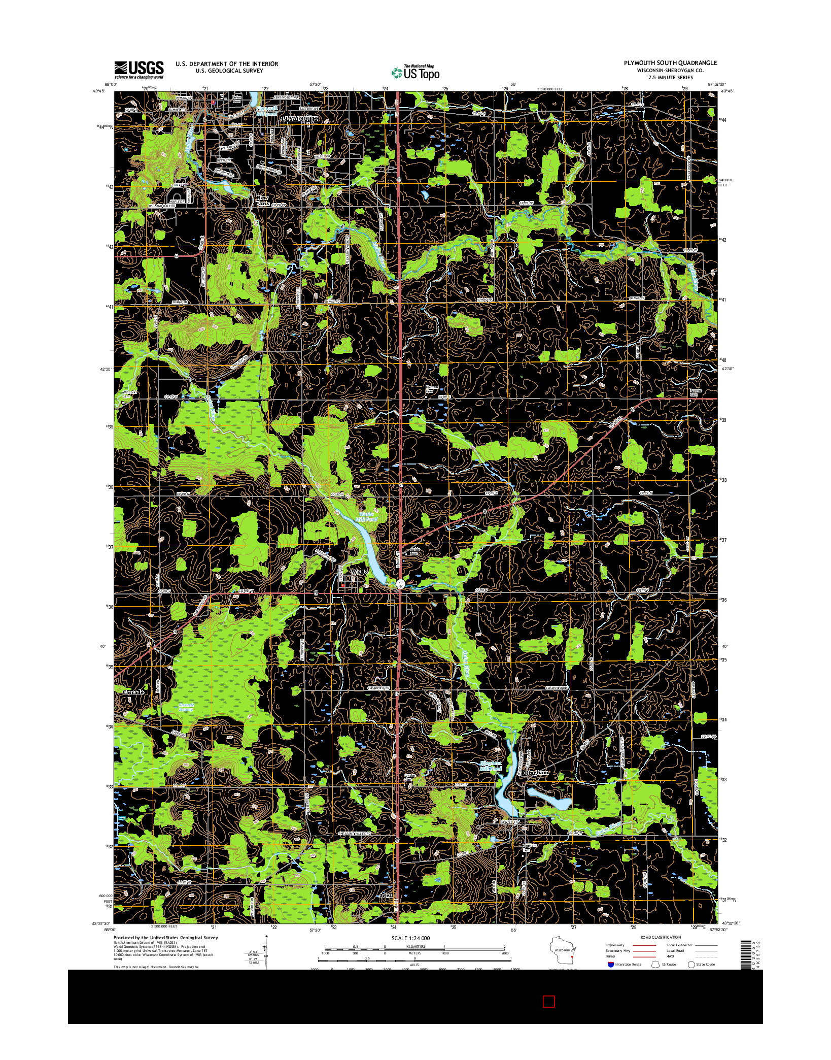 USGS US TOPO 7.5-MINUTE MAP FOR PLYMOUTH SOUTH, WI 2016