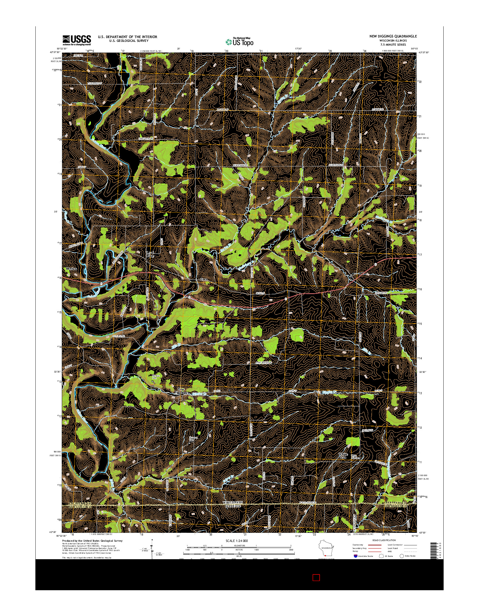USGS US TOPO 7.5-MINUTE MAP FOR NEW DIGGINGS, WI-IL 2016