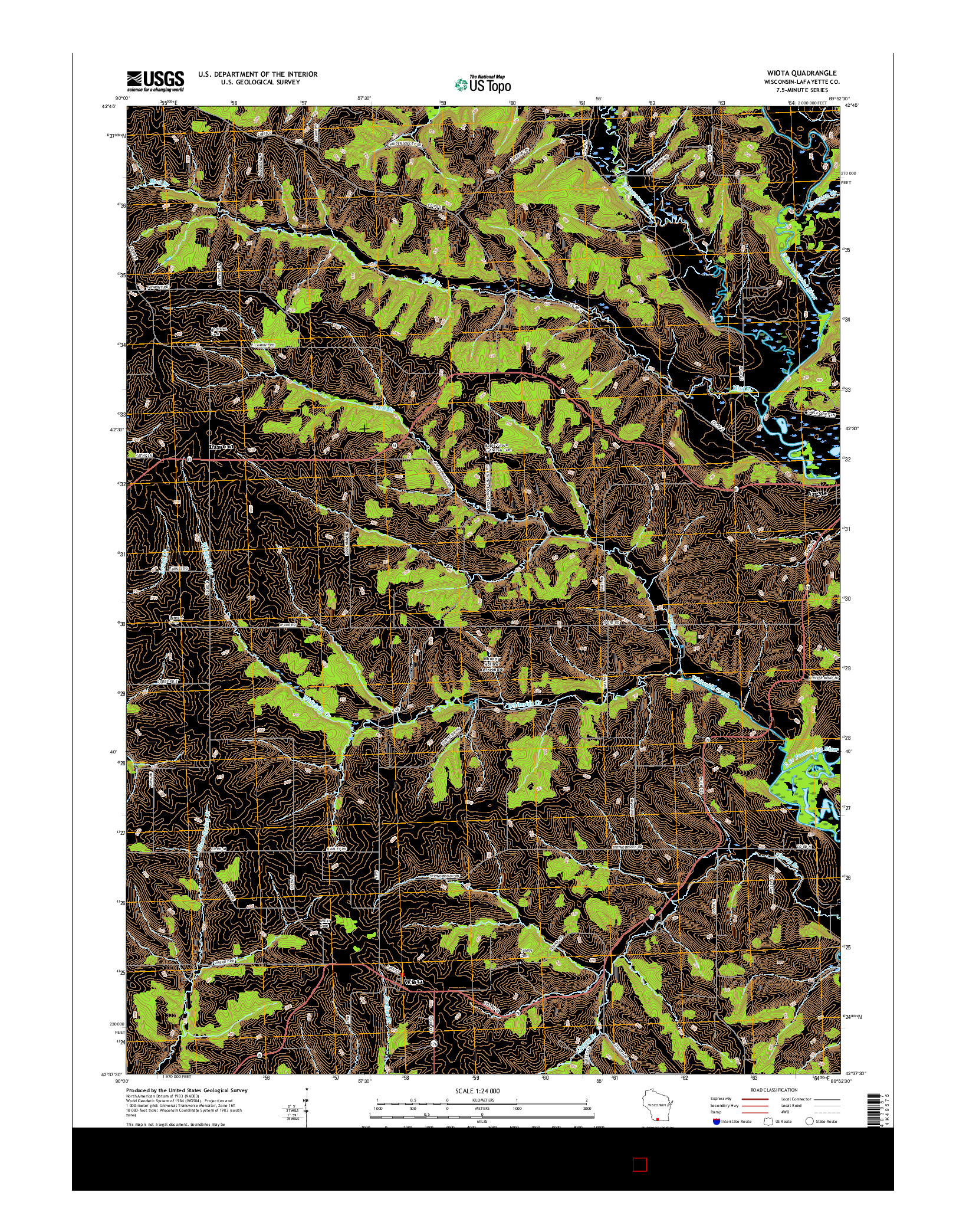 USGS US TOPO 7.5-MINUTE MAP FOR WIOTA, WI 2016