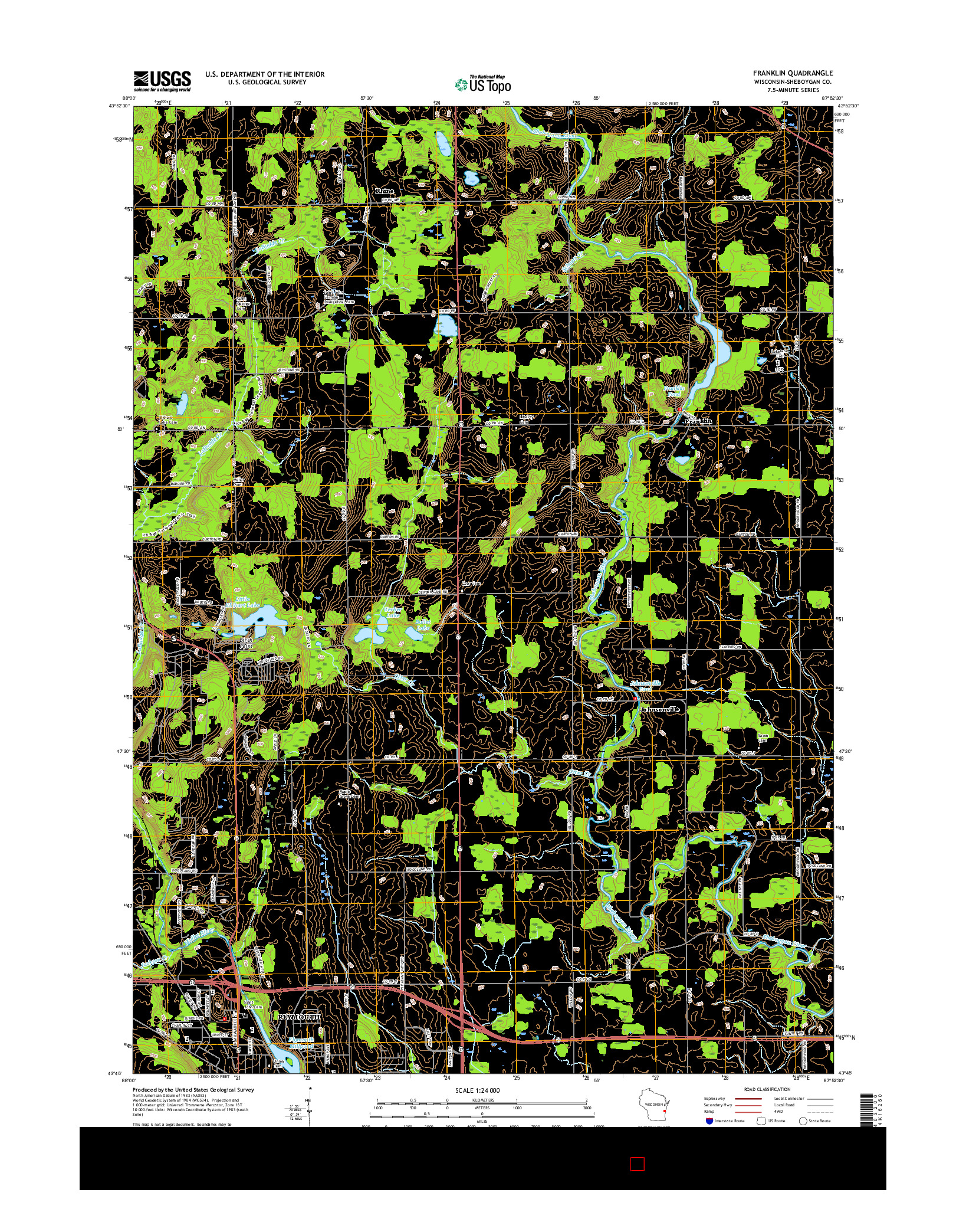 USGS US TOPO 7.5-MINUTE MAP FOR FRANKLIN, WI 2016