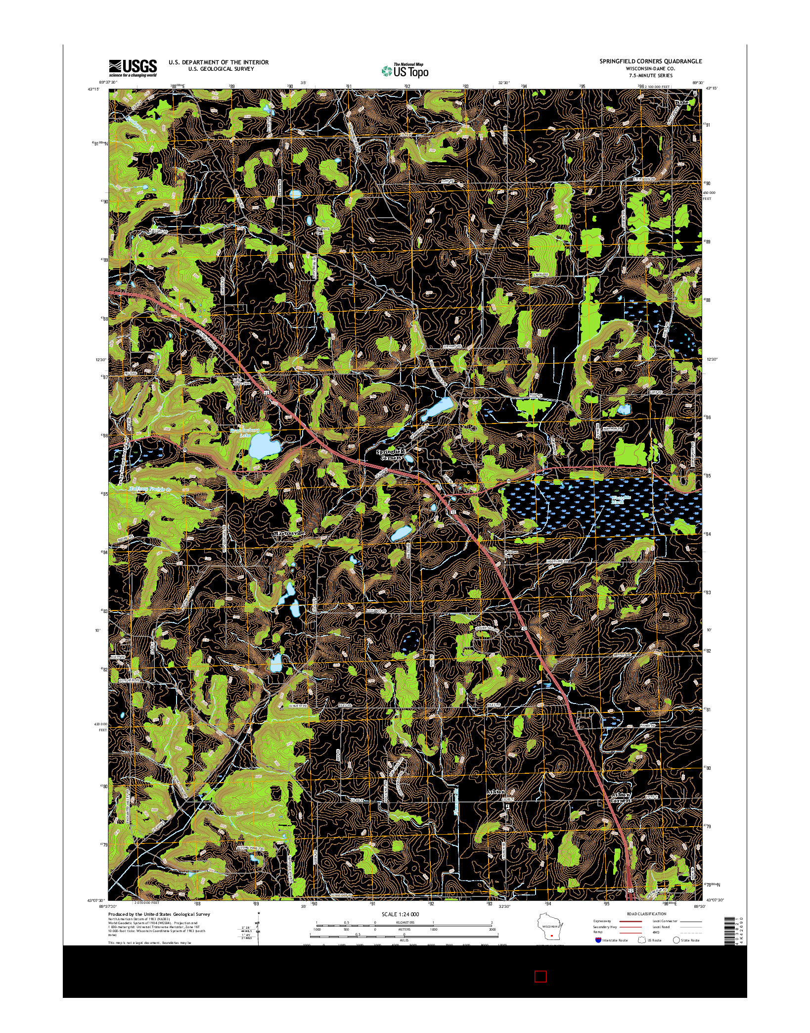 USGS US TOPO 7.5-MINUTE MAP FOR SPRINGFIELD CORNERS, WI 2016