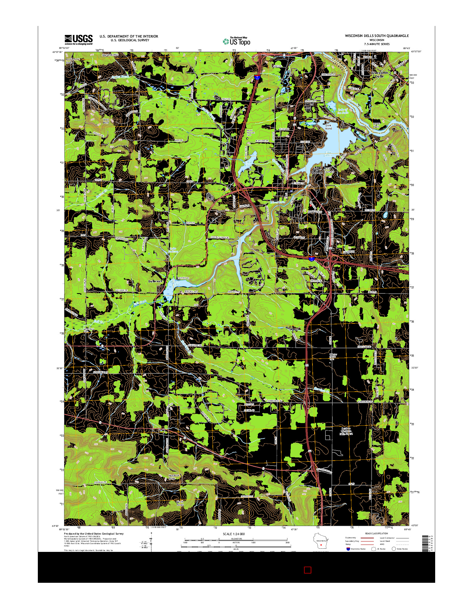 USGS US TOPO 7.5-MINUTE MAP FOR WISCONSIN DELLS SOUTH, WI 2016