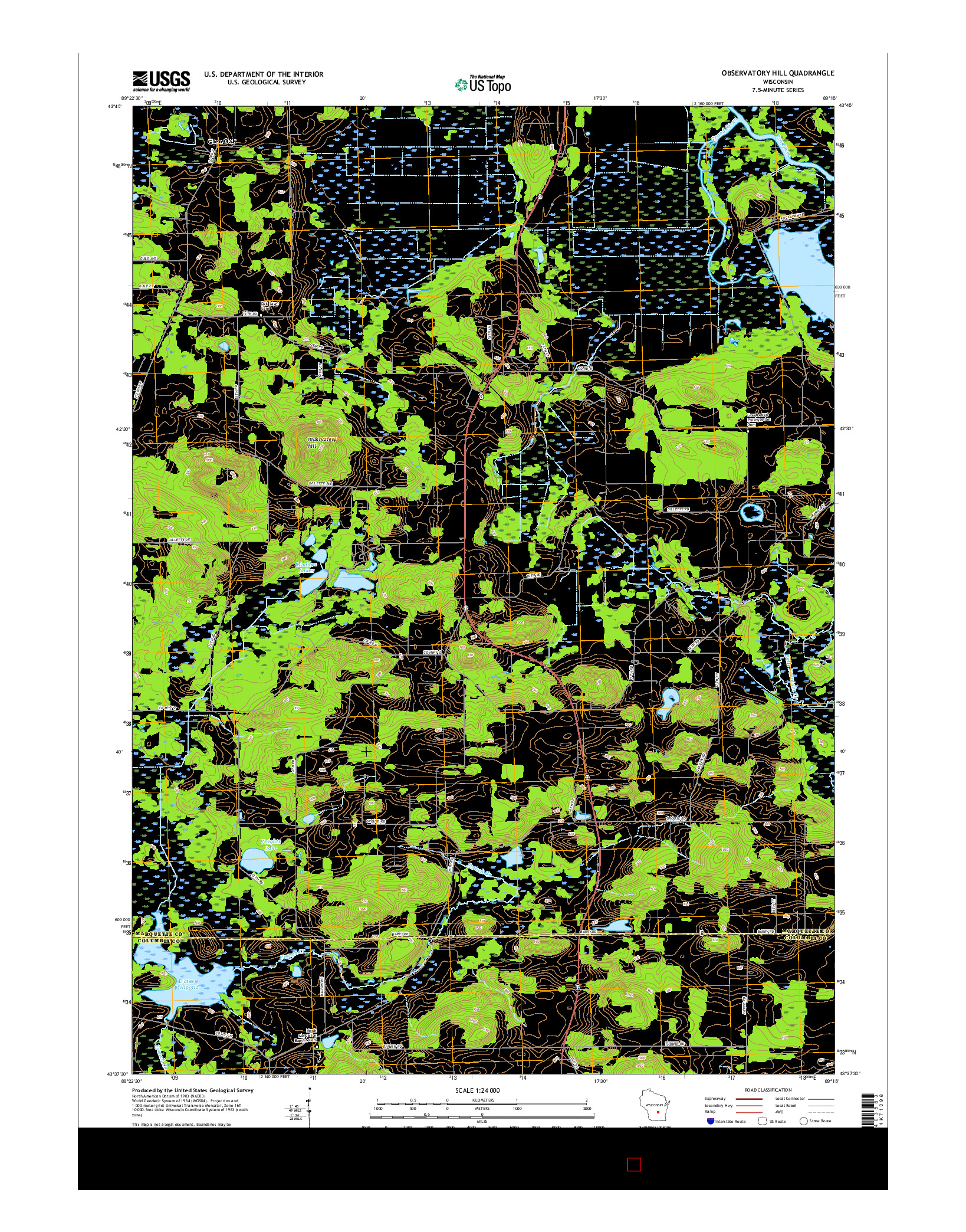 USGS US TOPO 7.5-MINUTE MAP FOR OBSERVATORY HILL, WI 2016