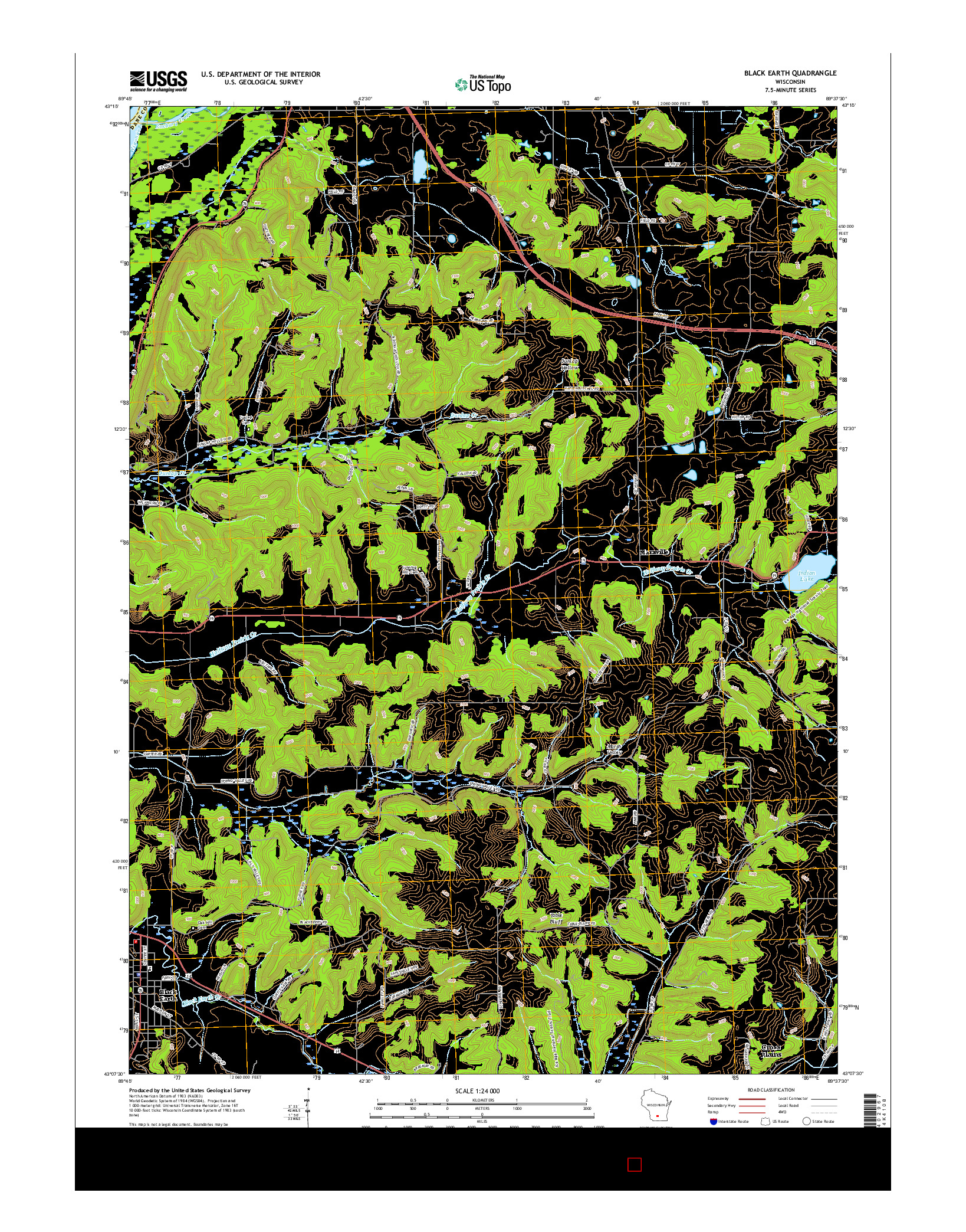 USGS US TOPO 7.5-MINUTE MAP FOR BLACK EARTH, WI 2016