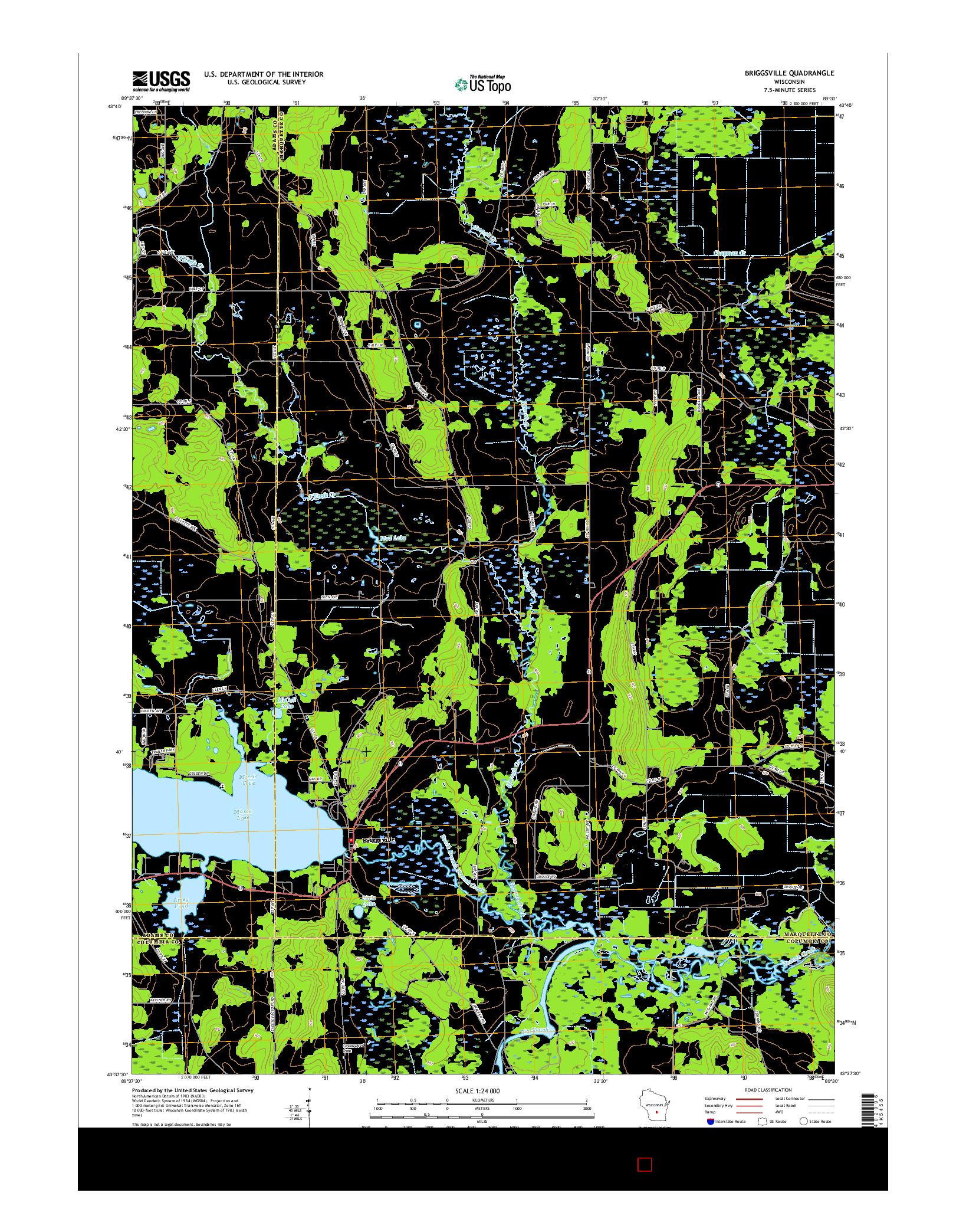 USGS US TOPO 7.5-MINUTE MAP FOR BRIGGSVILLE, WI 2016