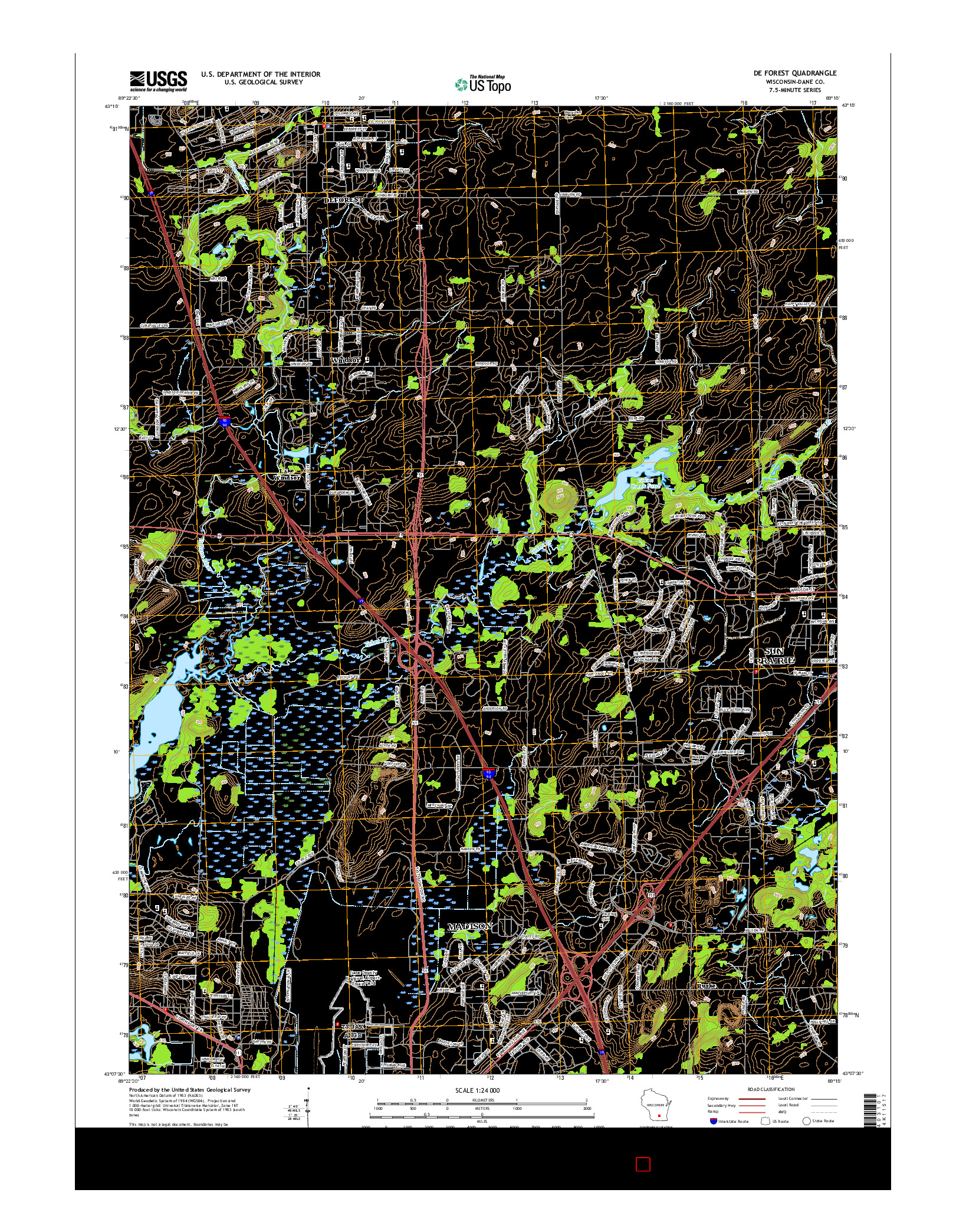 USGS US TOPO 7.5-MINUTE MAP FOR DE FOREST, WI 2016