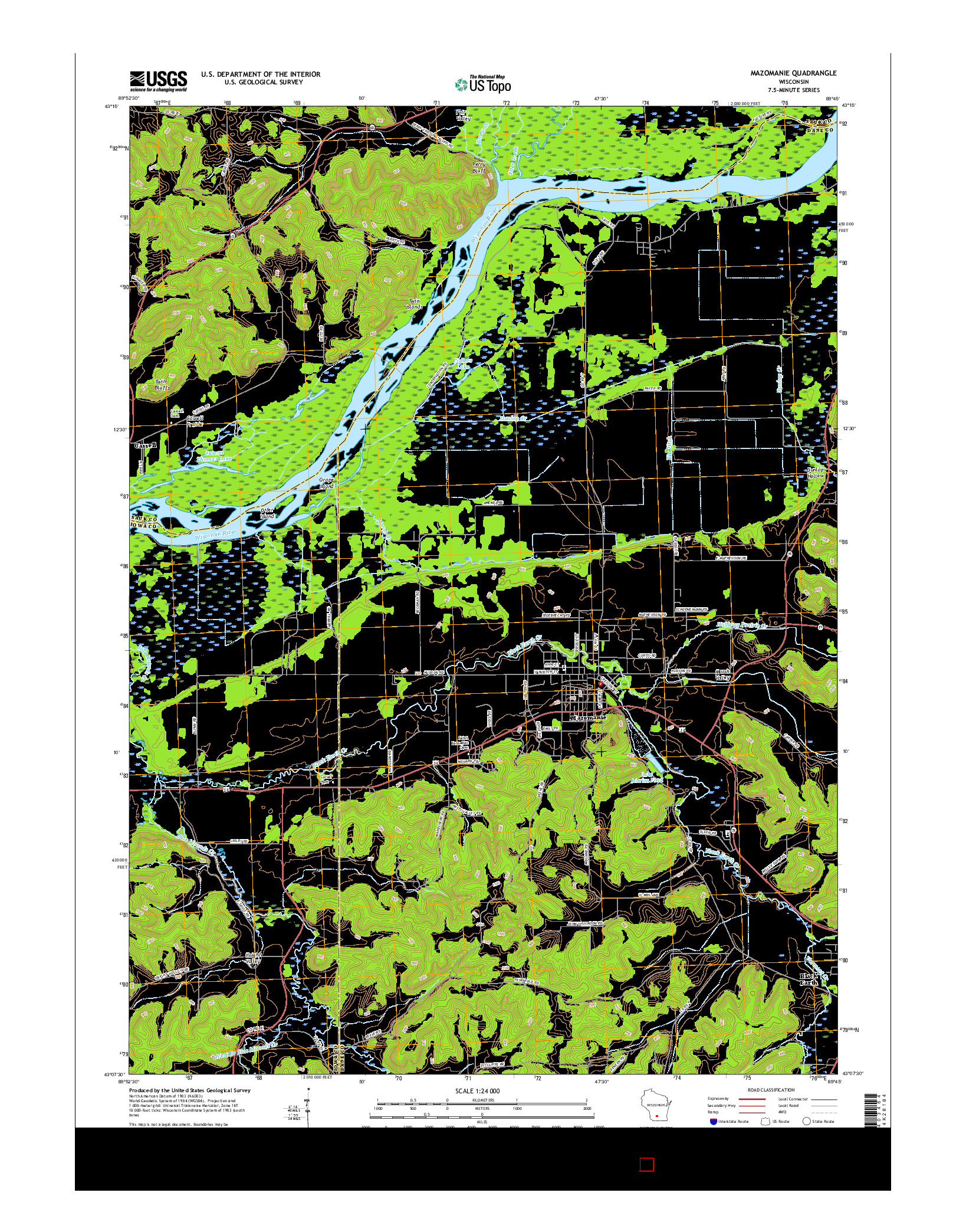 USGS US TOPO 7.5-MINUTE MAP FOR MAZOMANIE, WI 2016