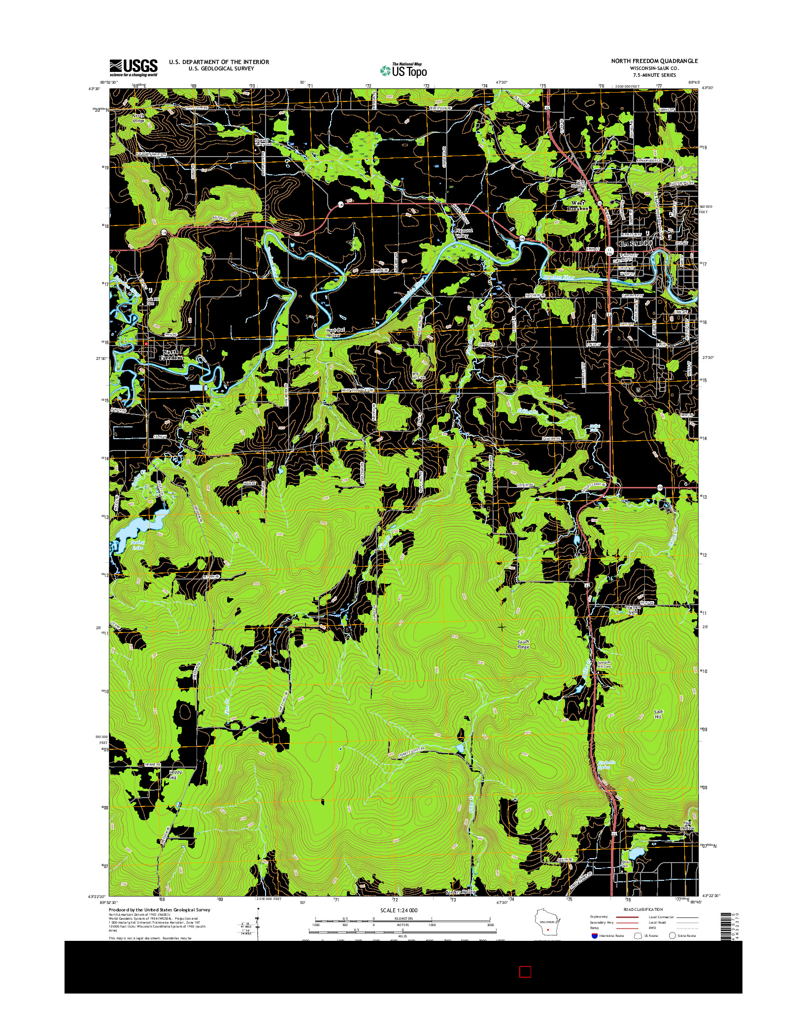 USGS US TOPO 7.5-MINUTE MAP FOR NORTH FREEDOM, WI 2016