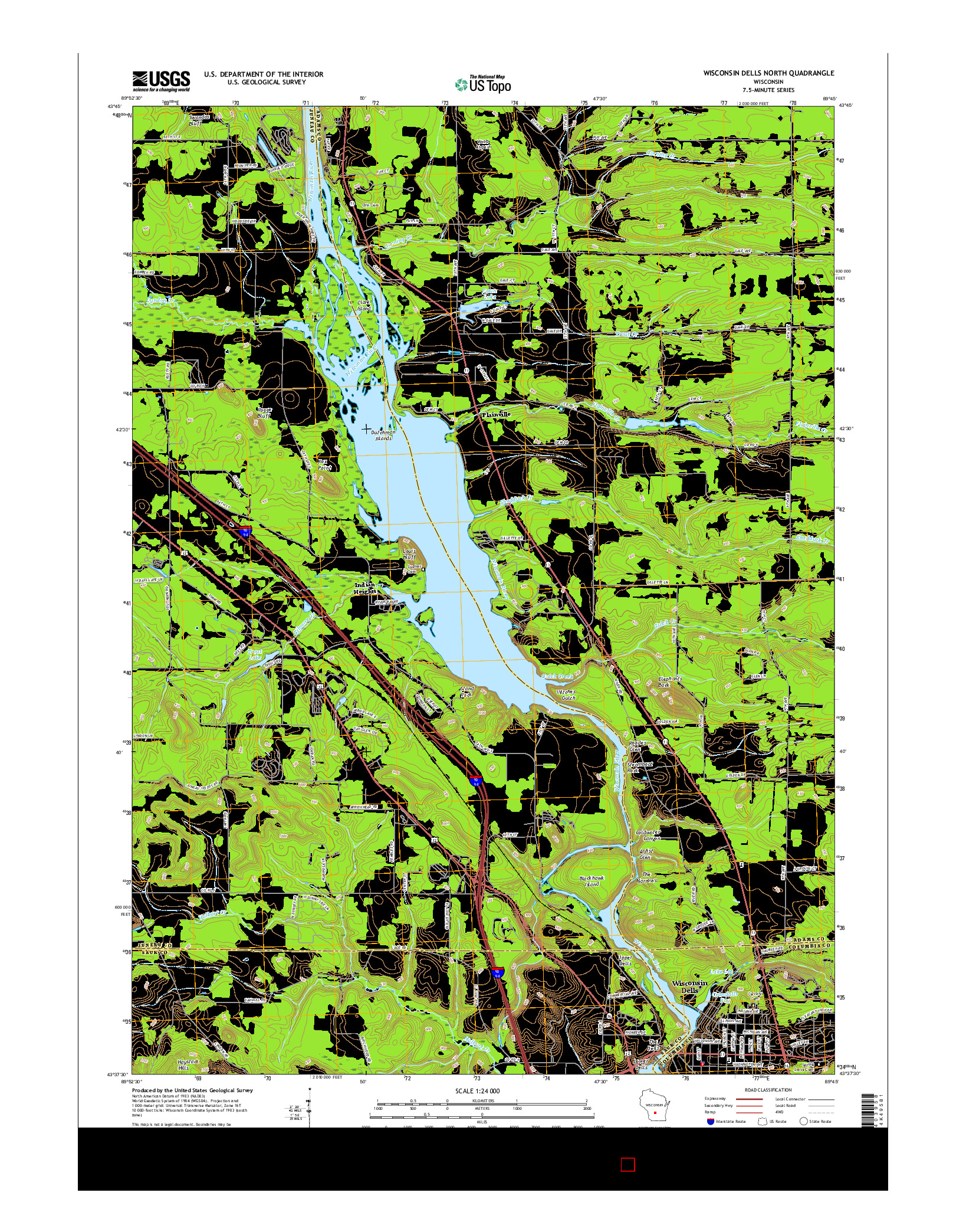 USGS US TOPO 7.5-MINUTE MAP FOR WISCONSIN DELLS NORTH, WI 2016