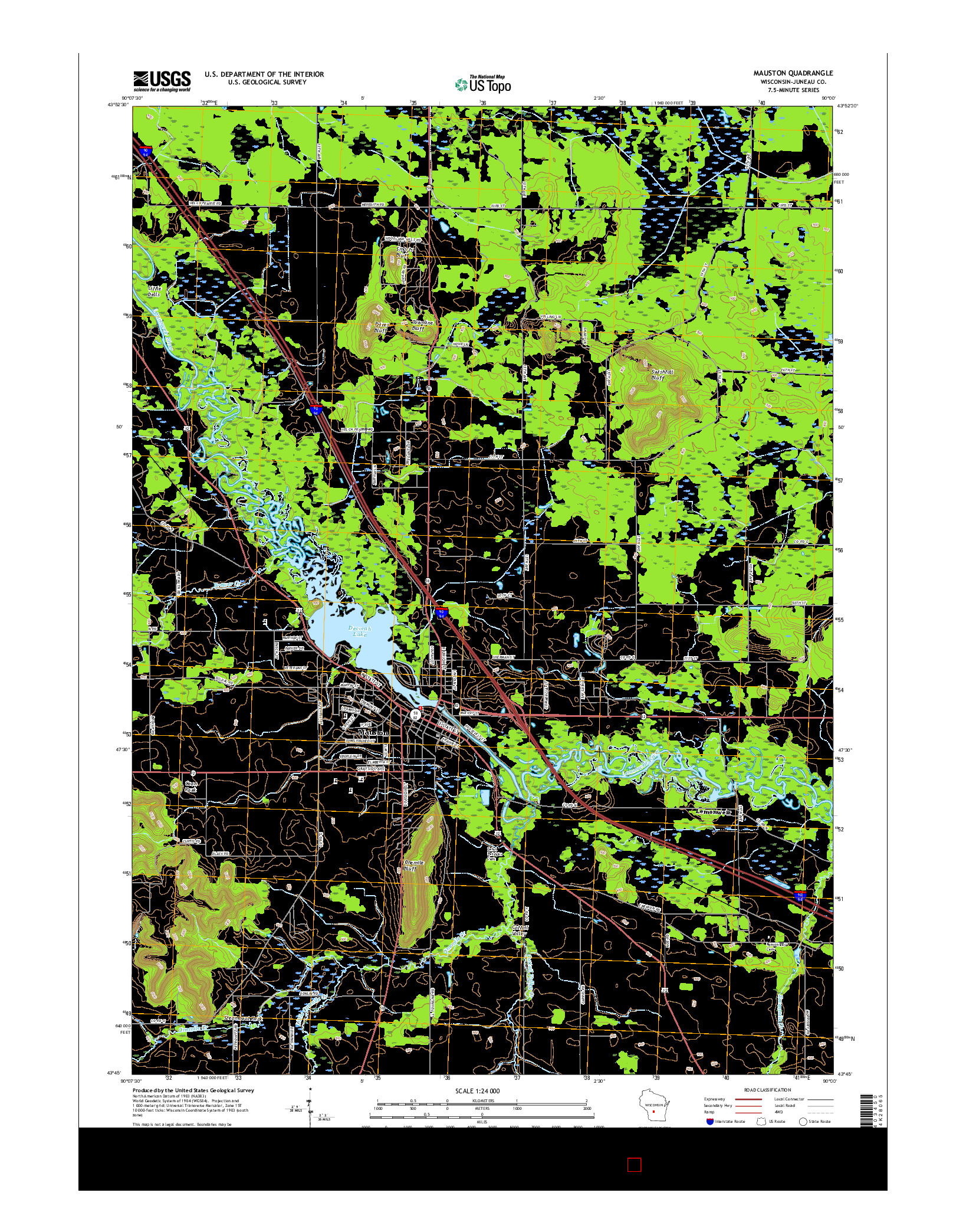 USGS US TOPO 7.5-MINUTE MAP FOR MAUSTON, WI 2016