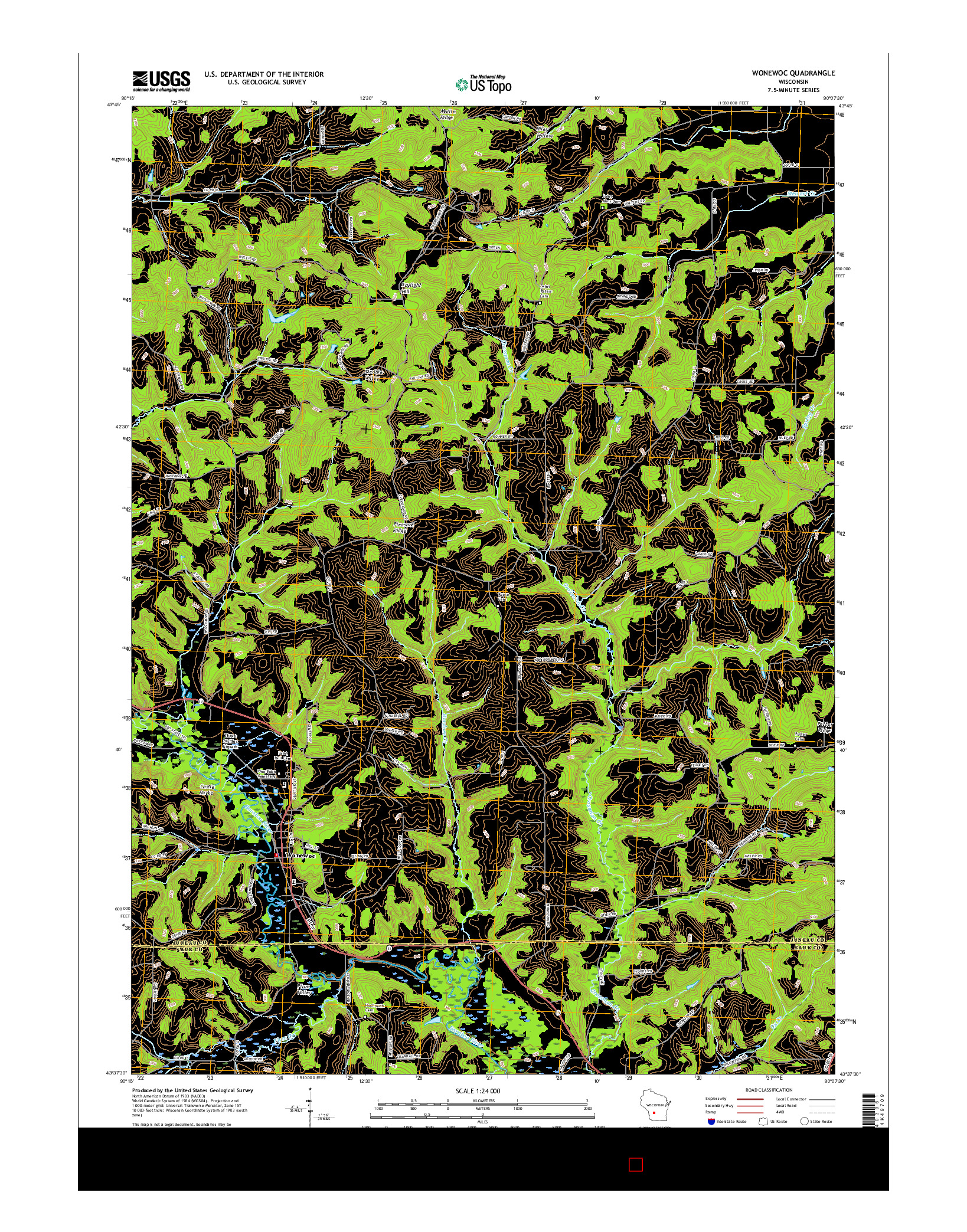 USGS US TOPO 7.5-MINUTE MAP FOR WONEWOC, WI 2016