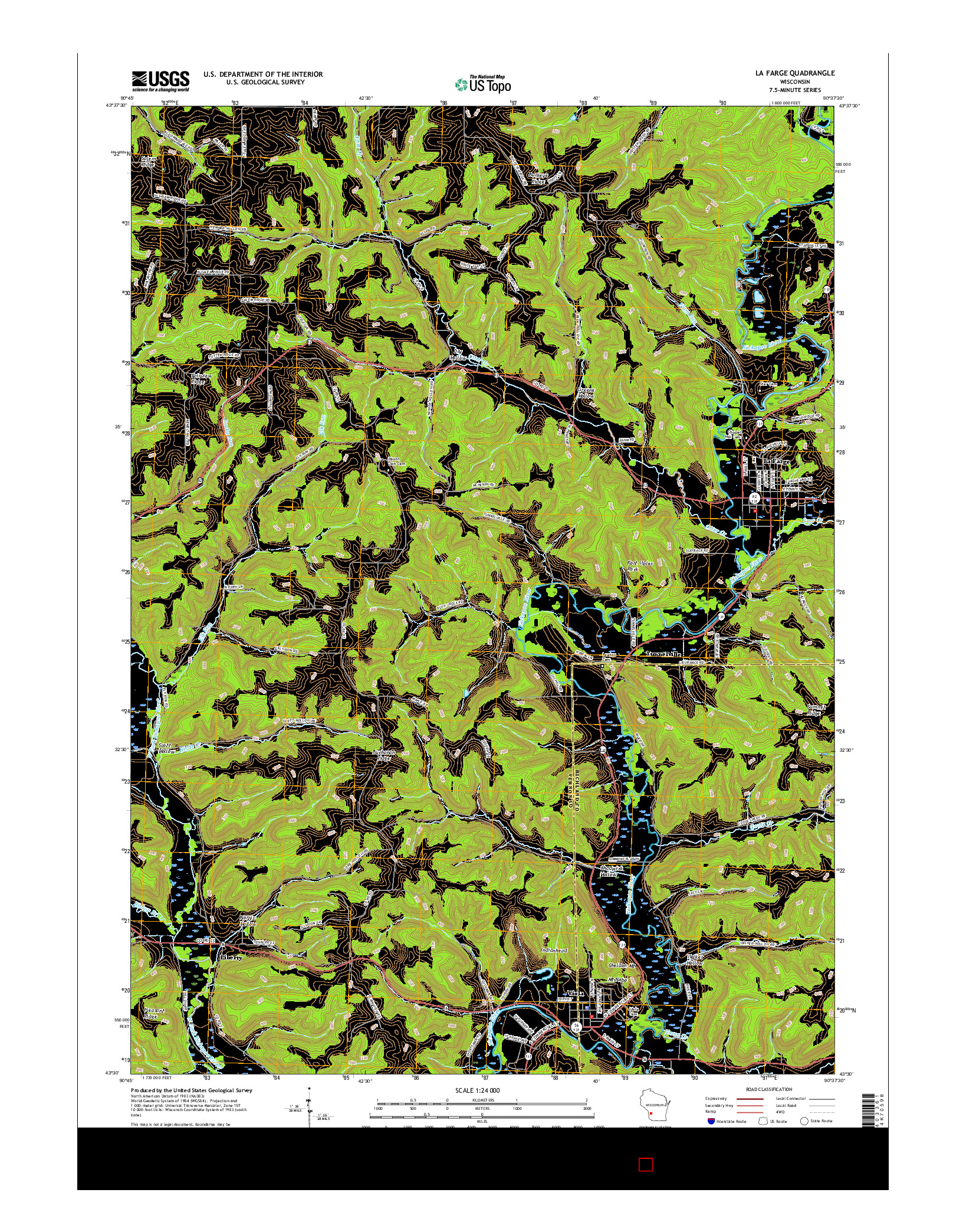 USGS US TOPO 7.5-MINUTE MAP FOR LA FARGE, WI 2016